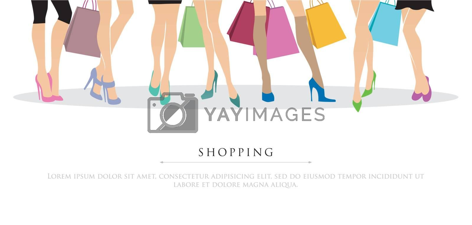 Vector illustration of Shopping girls