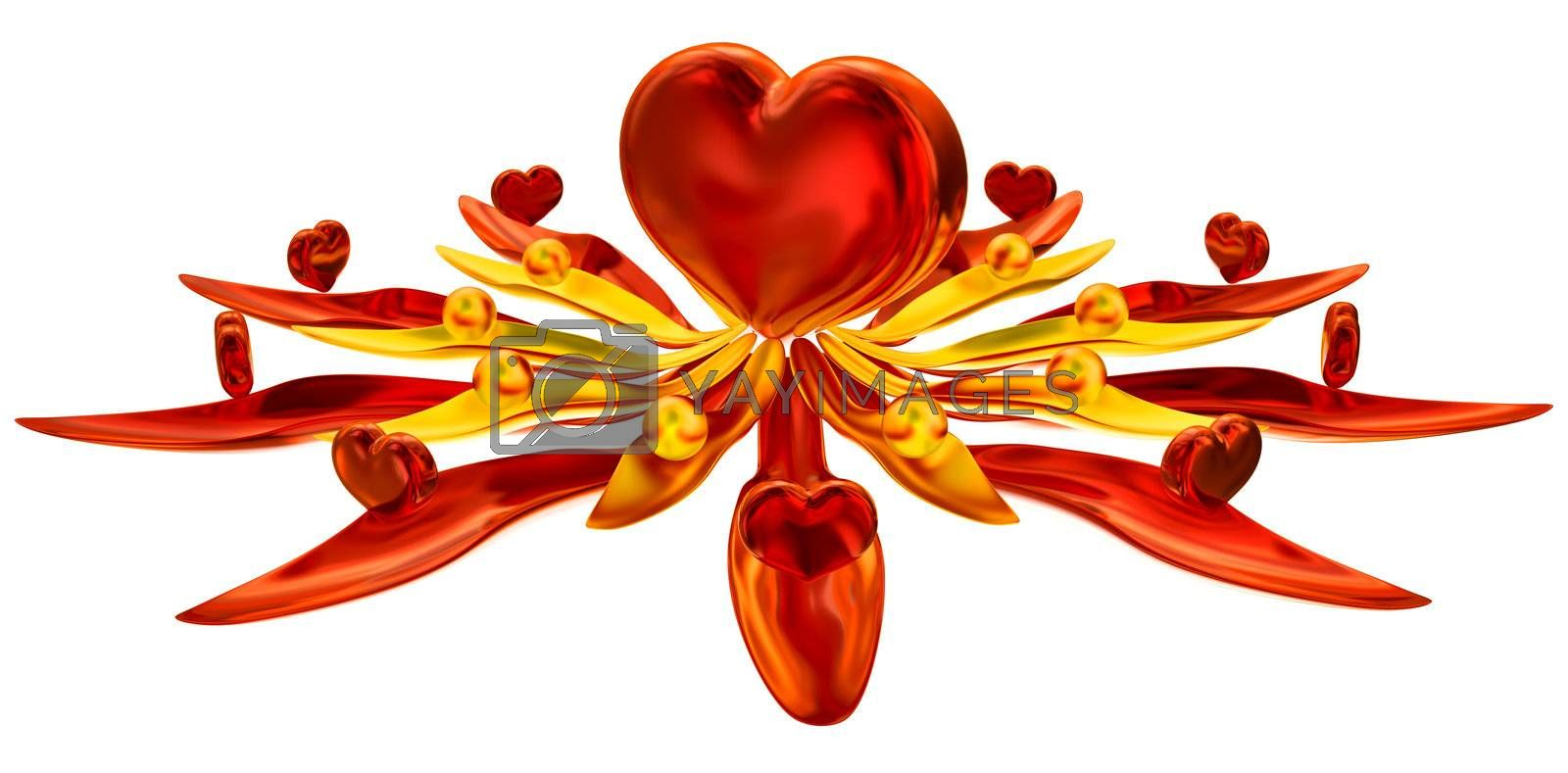 Set of hearts in leaves with water drops as symbol of love