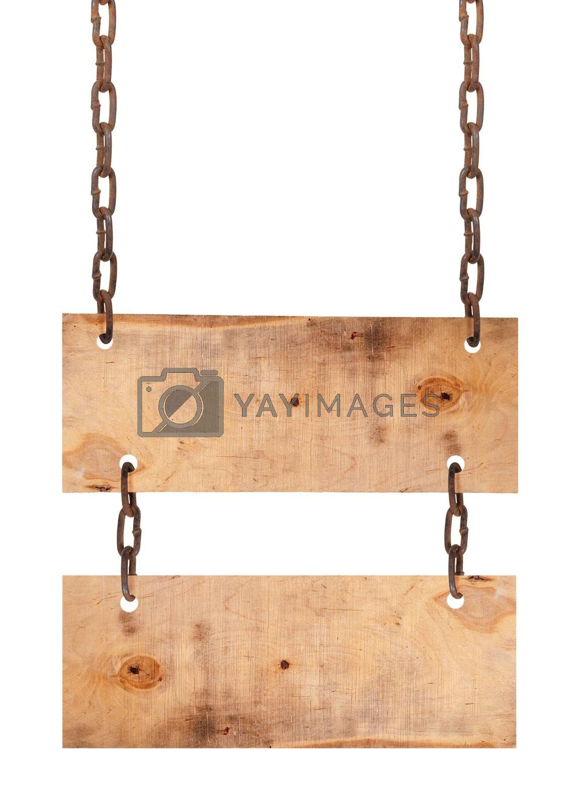 Wooden sign board with chains