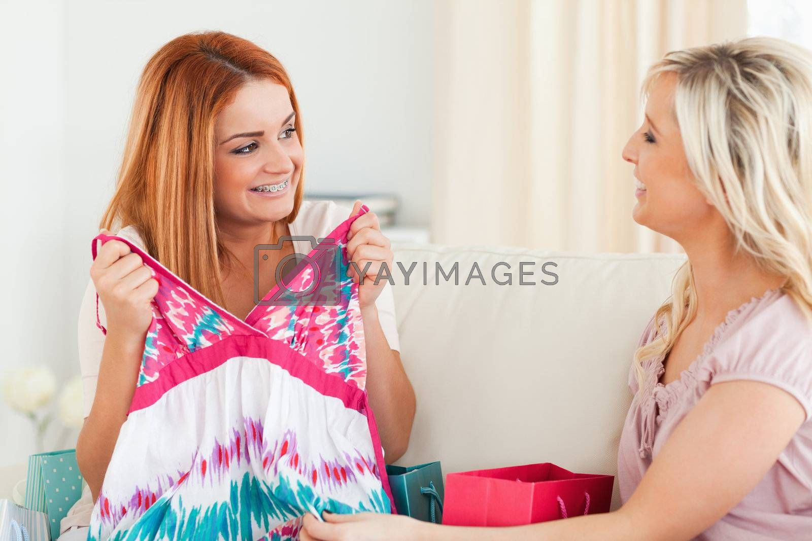 Charming Women with shopping bags in a living room