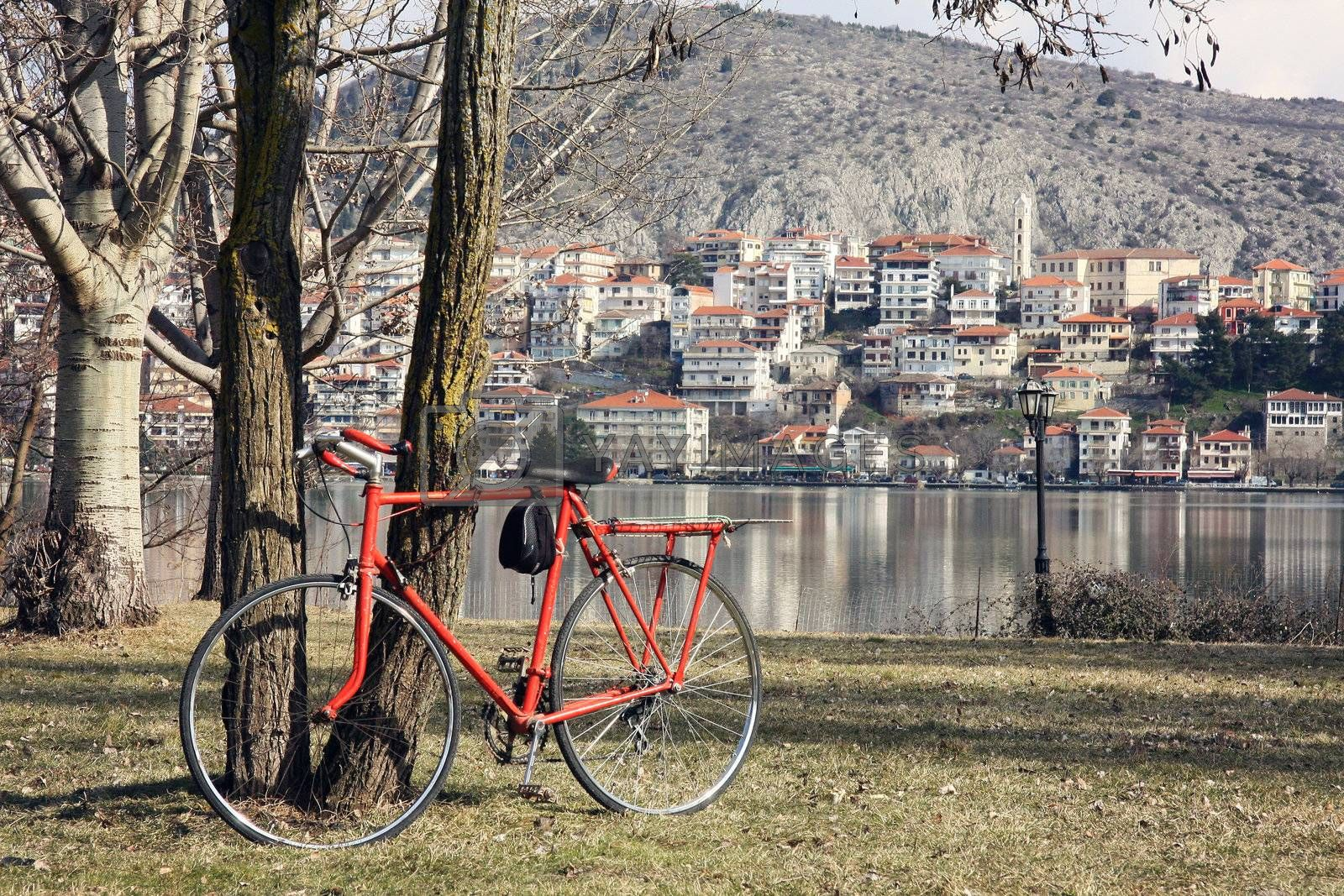 The bicycle and the view of Kastoria with the lake