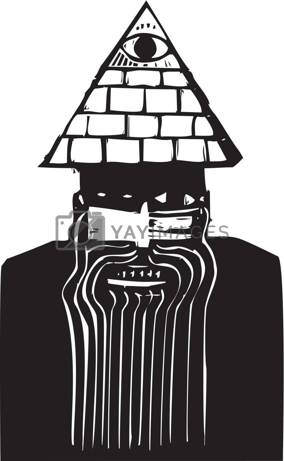 Crazy looking man with a pyramid hat in woodcut style.
