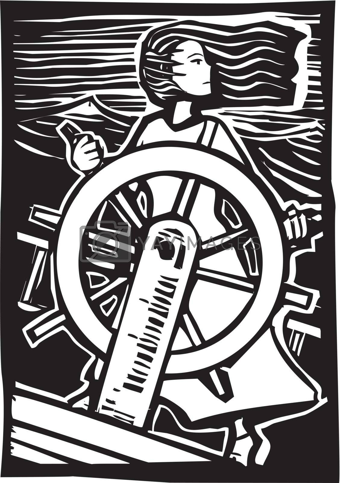 Girl in a dress pilots a ship at sea in a woodcut style image.