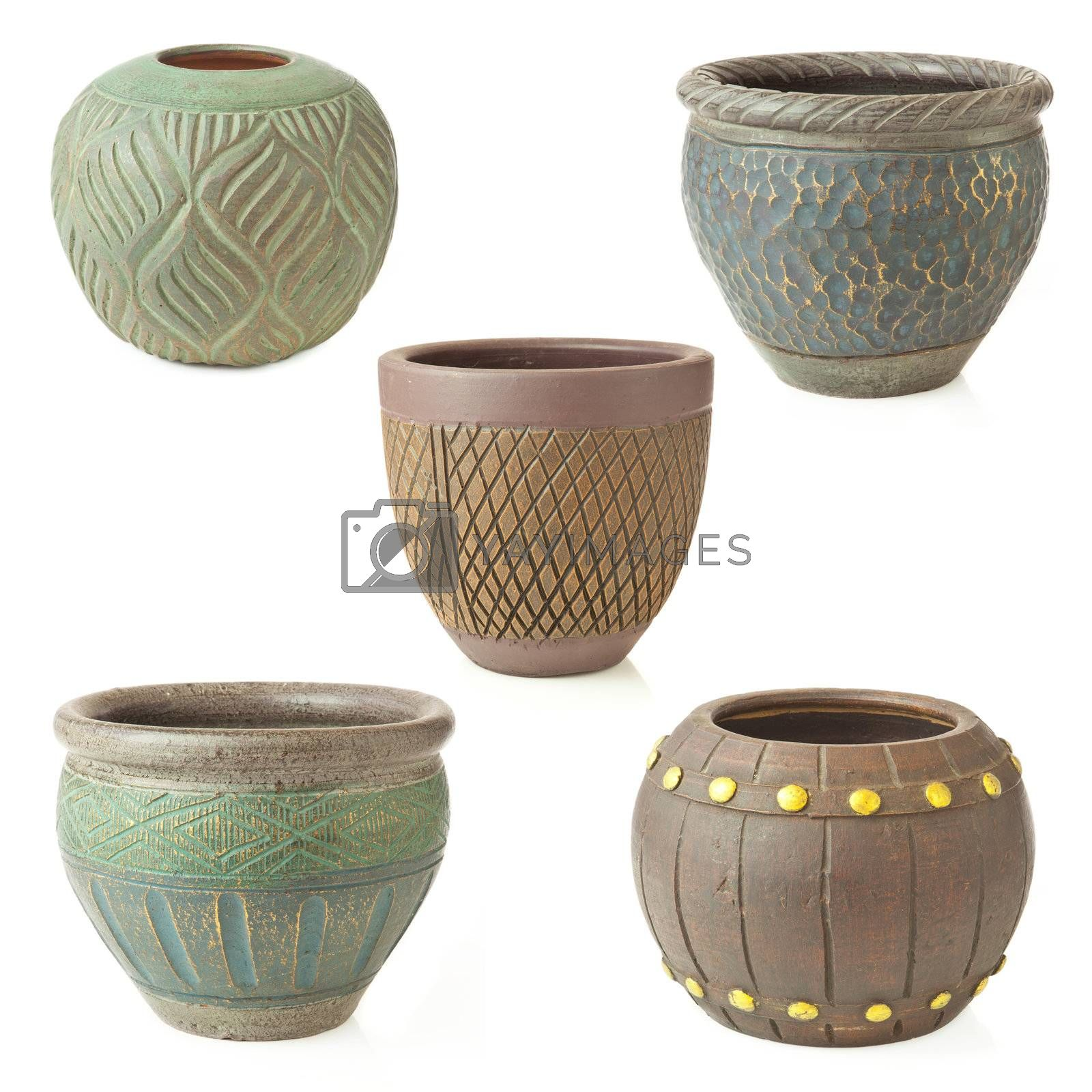 Collection of flower Pot  isolated on the white background