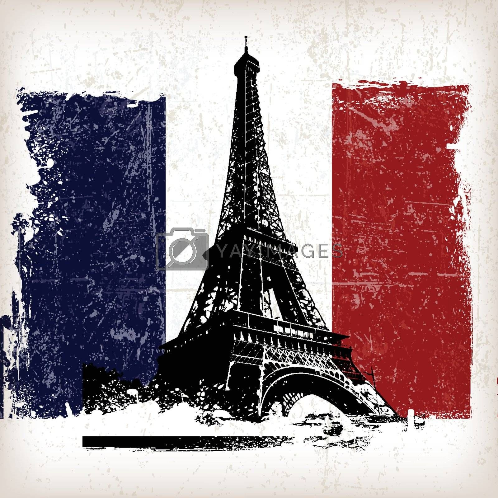 illustration eiffel tower over france flag with grunge effect