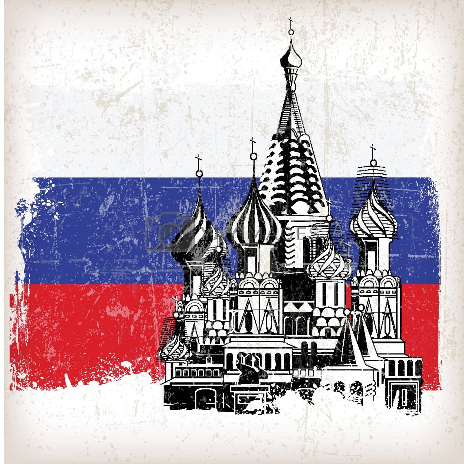 Saint Basil's Cathedral Russian flag with grunge effect