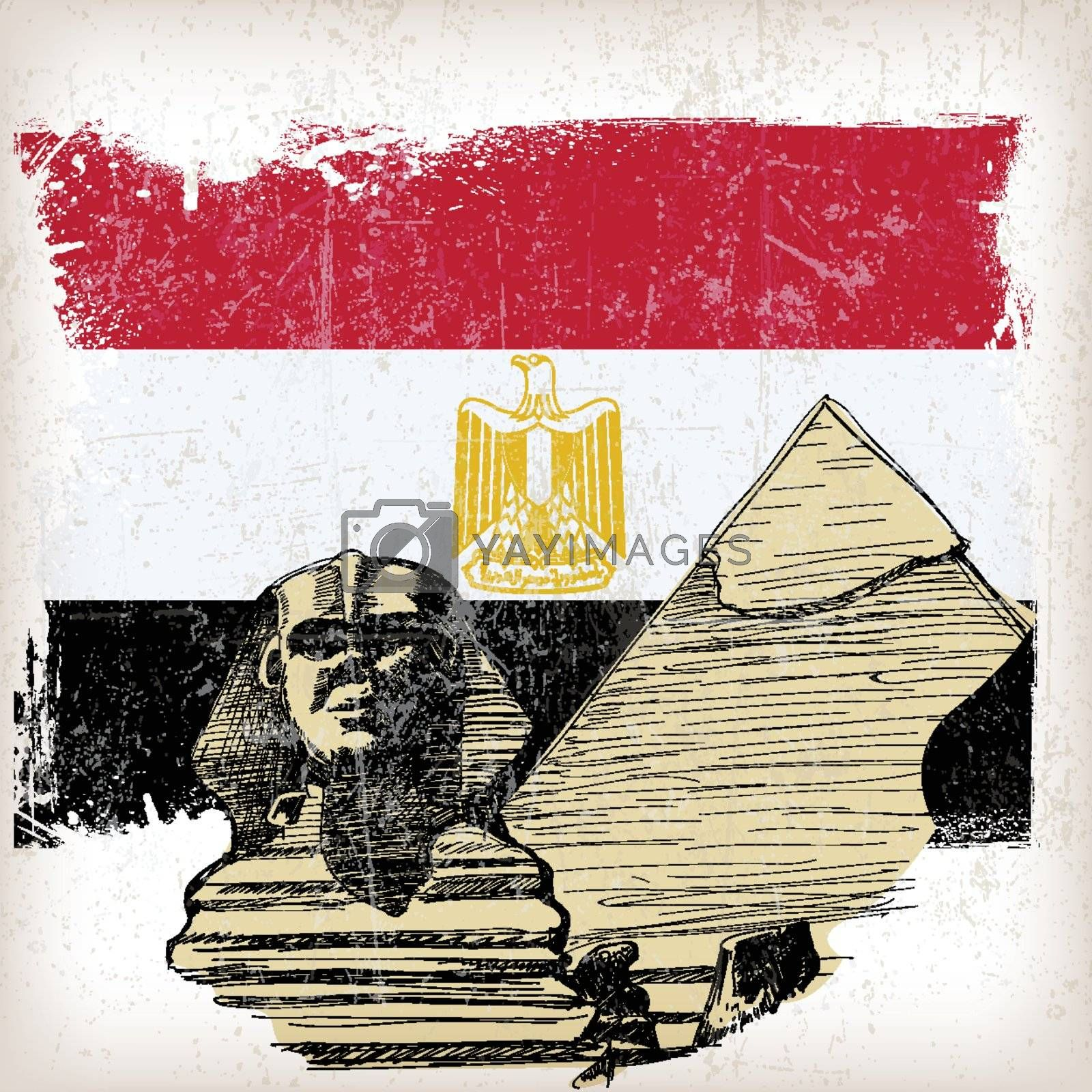 Sphinx, pyramid on Egypt flag with grunge effect