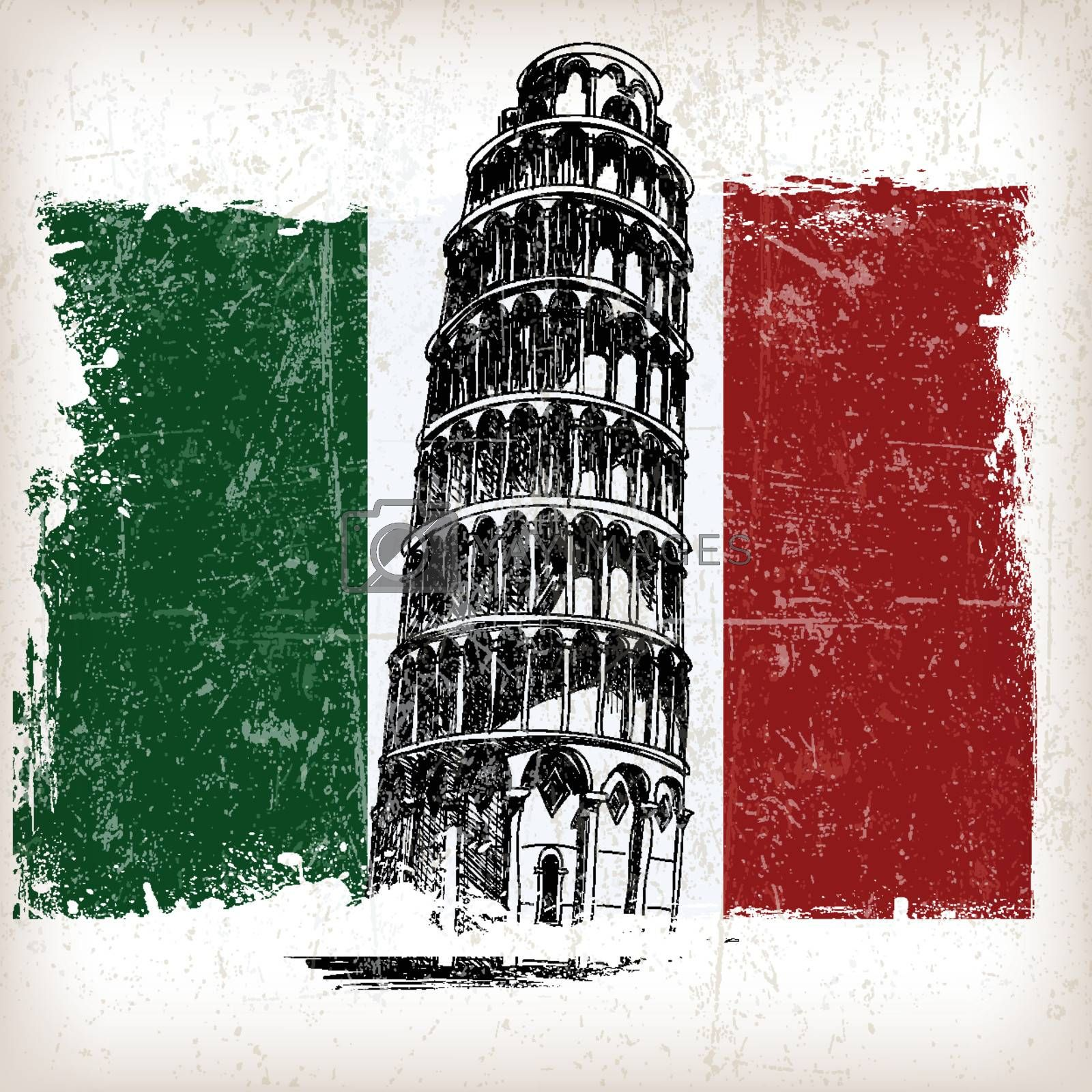 Leaning Tower of Pisa on Italian flag with grunge effect