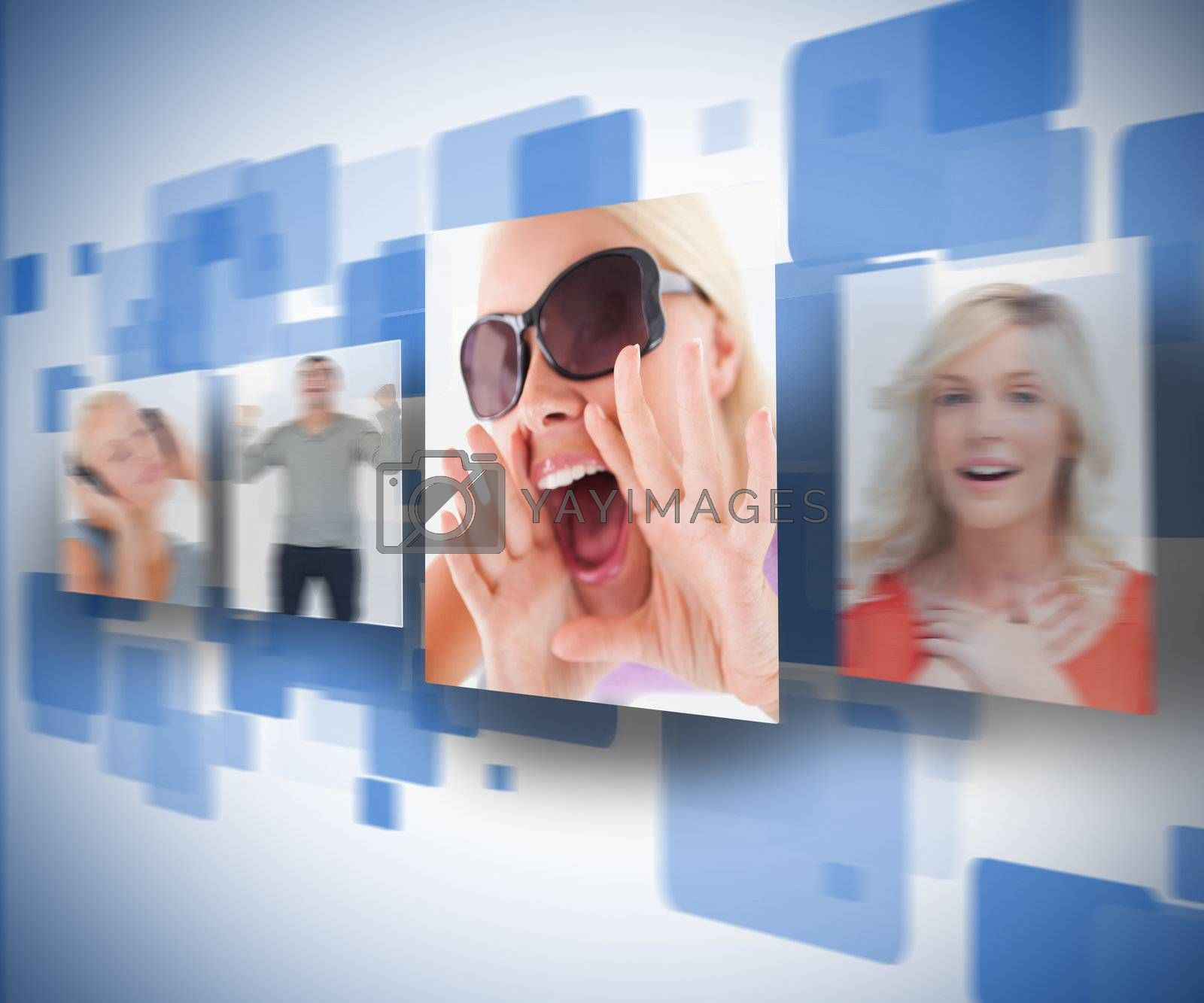 Four pictures on blue digital wall