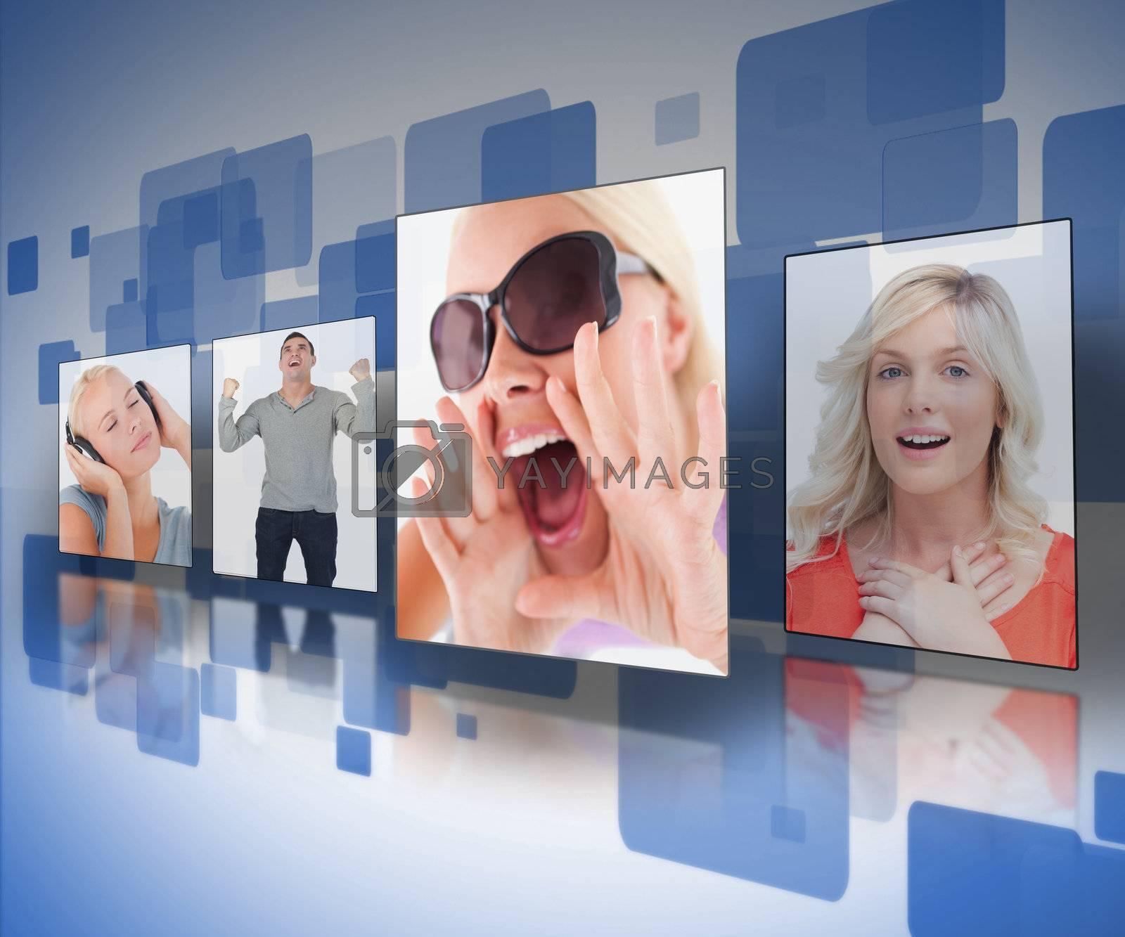 Four photos displayed on digital blue wall