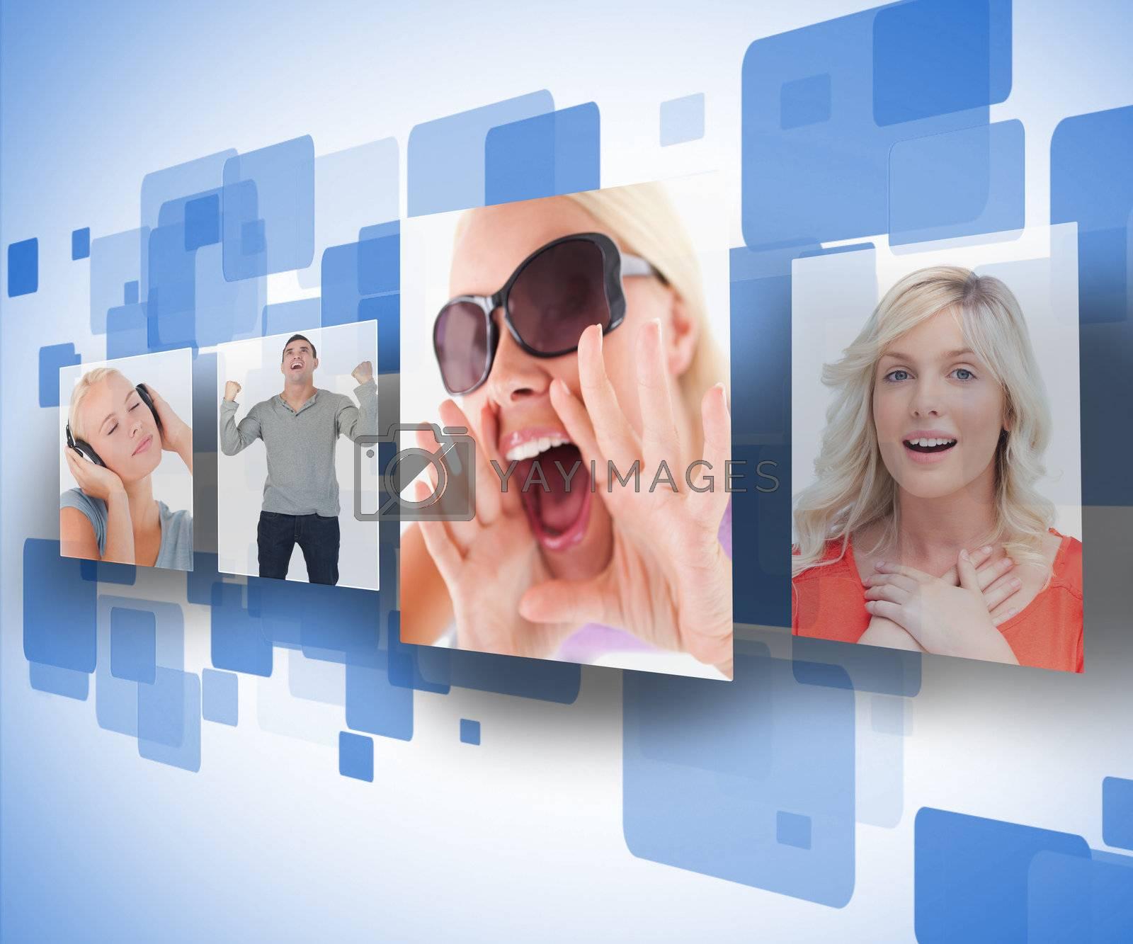 Four photos on blue digital wall