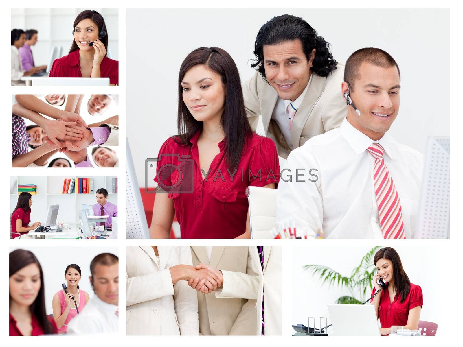 Collage of working business people