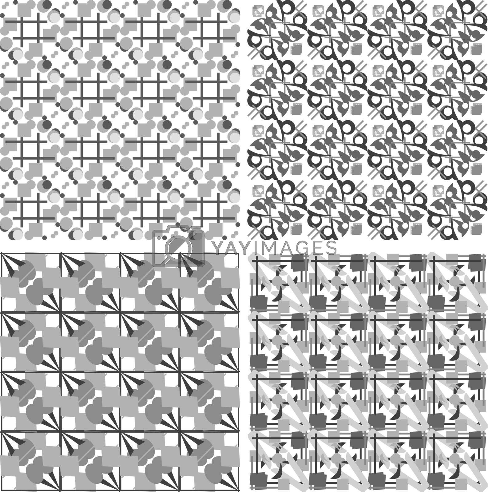 Set of black and white geometric seamless patterns. Vector backgrounds collection