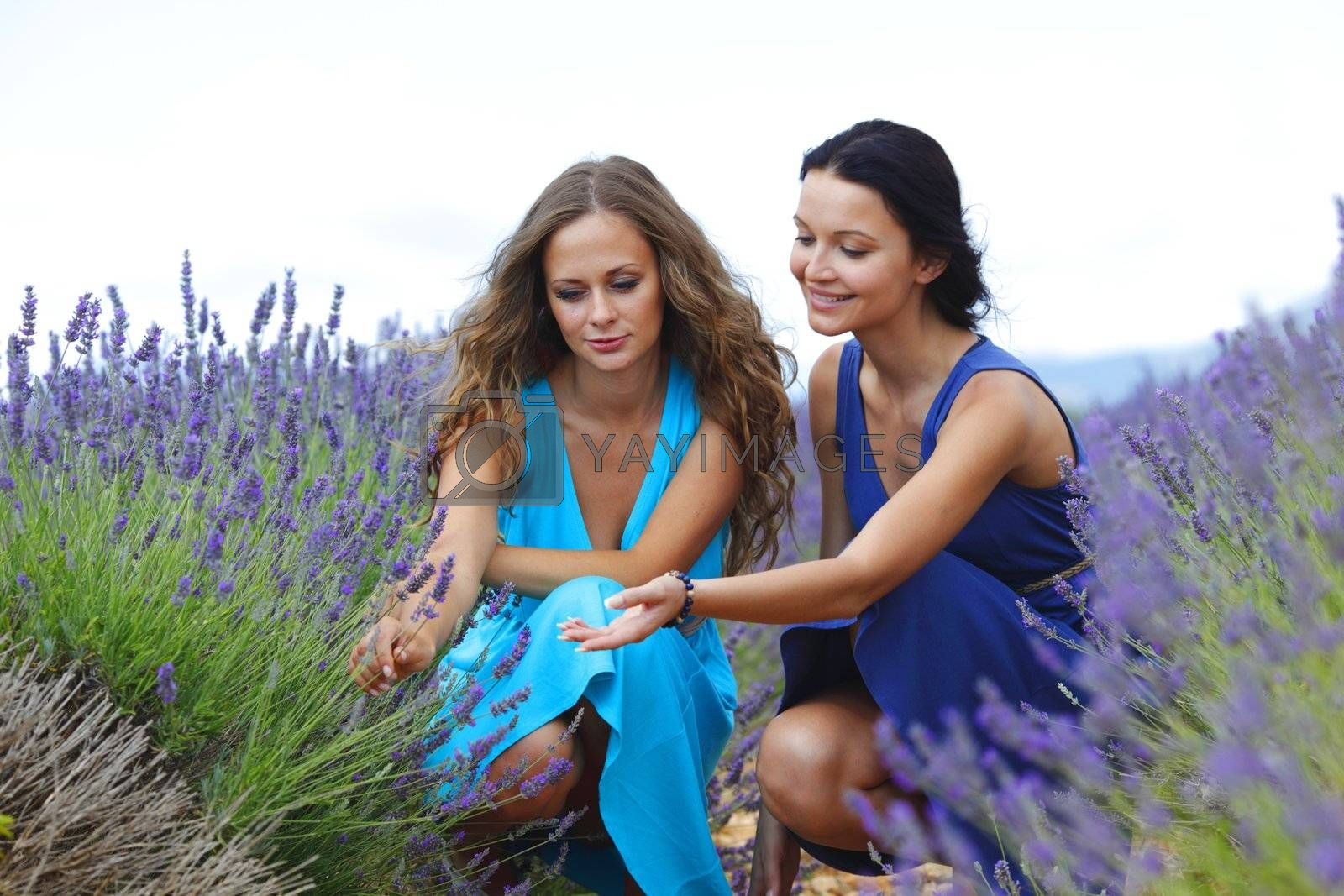 two women on lavender field