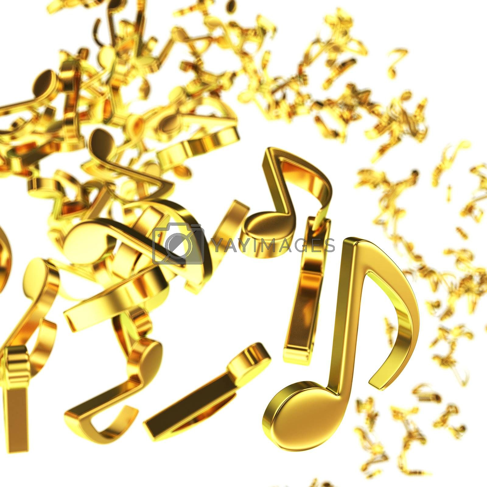 Golden note symbols chaotic flying on the white background
