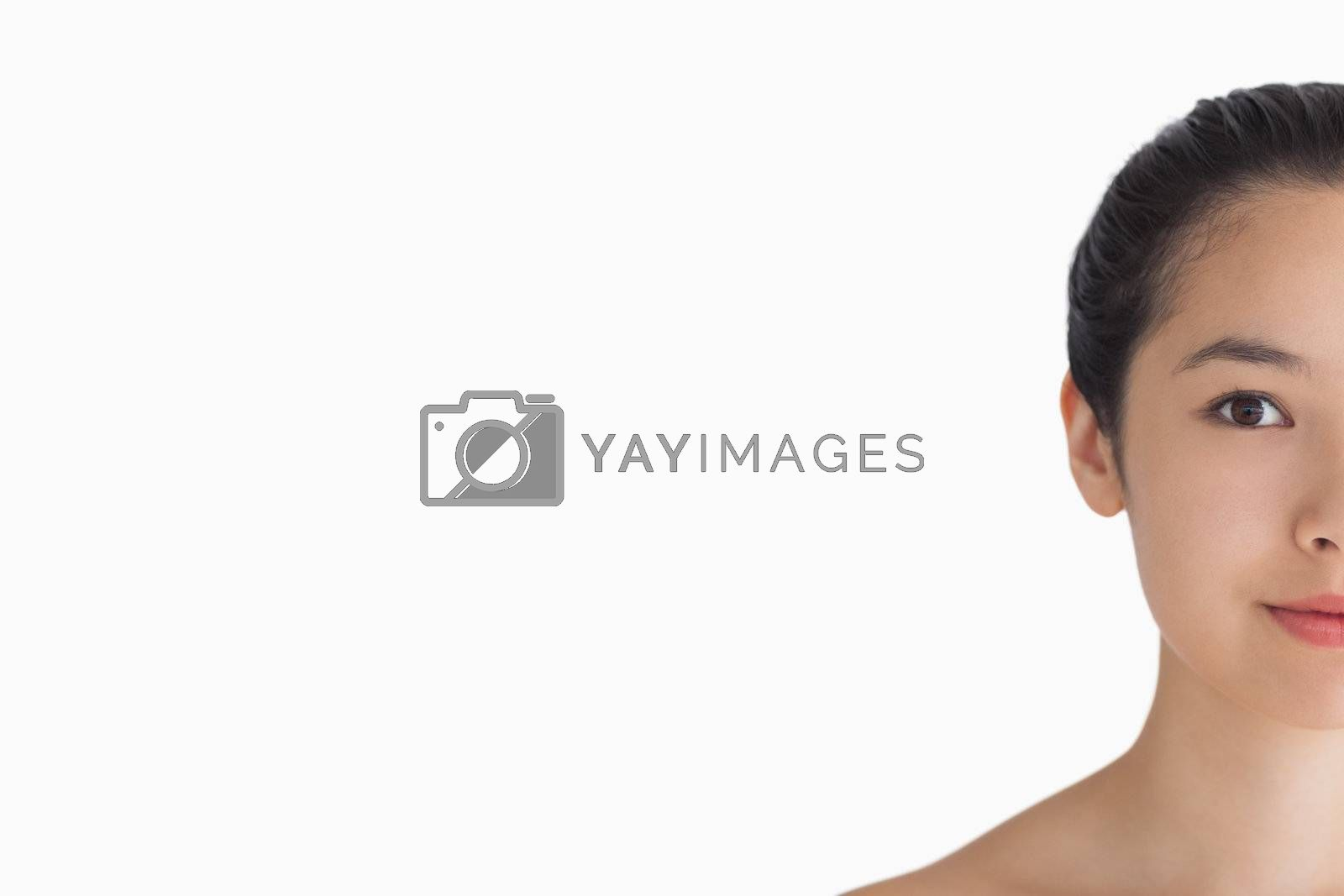 Black haired woman showing her natural beauty