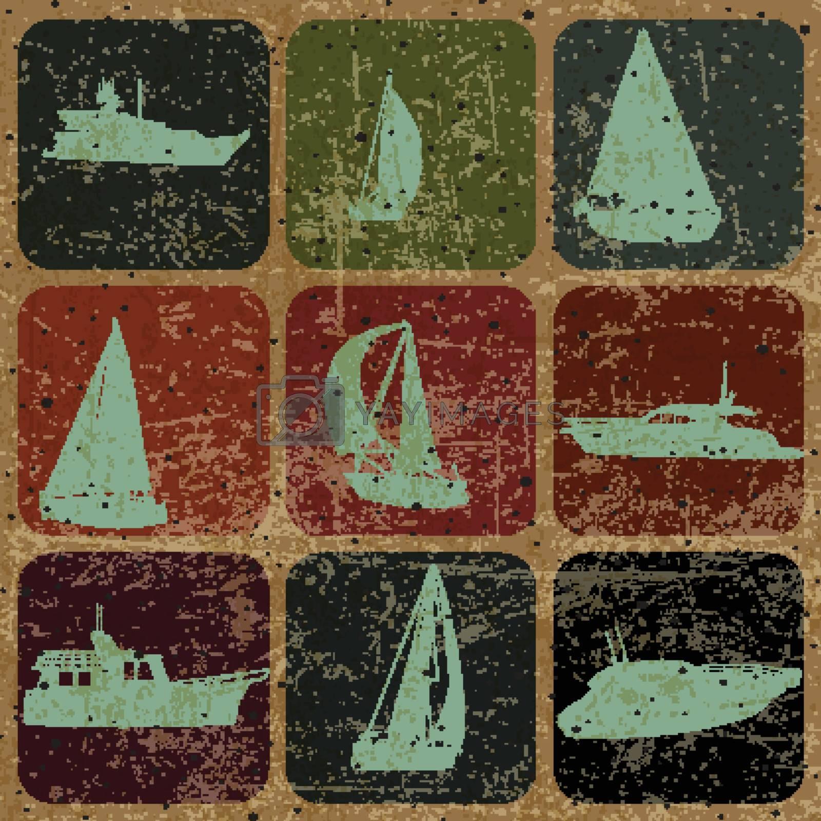 set of Vintage Ship, sailing, with Grunge Effect