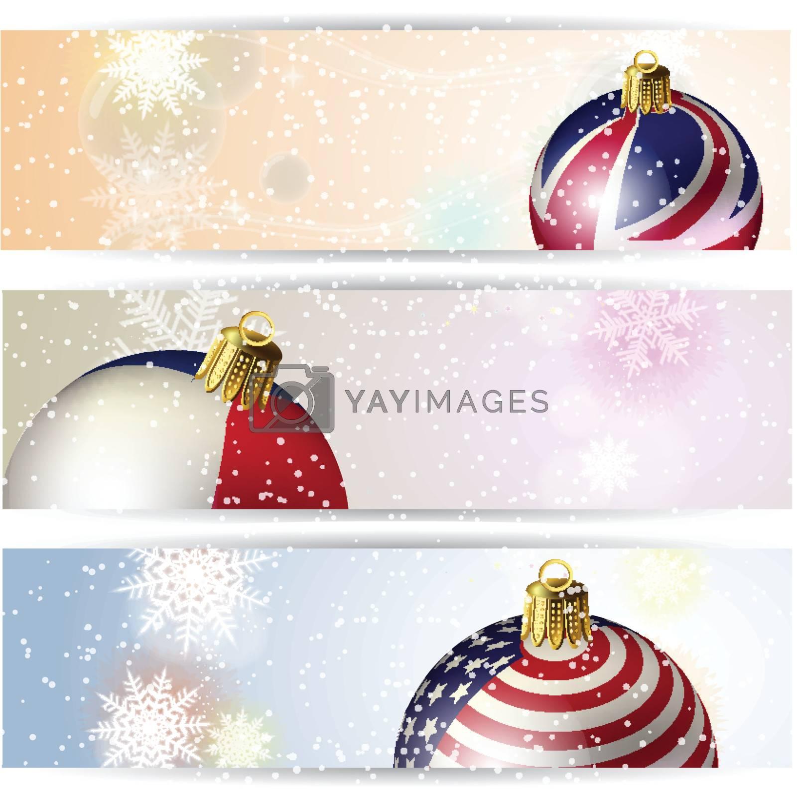 Set of winter Christmas horizontal banner Ball and Snowflake