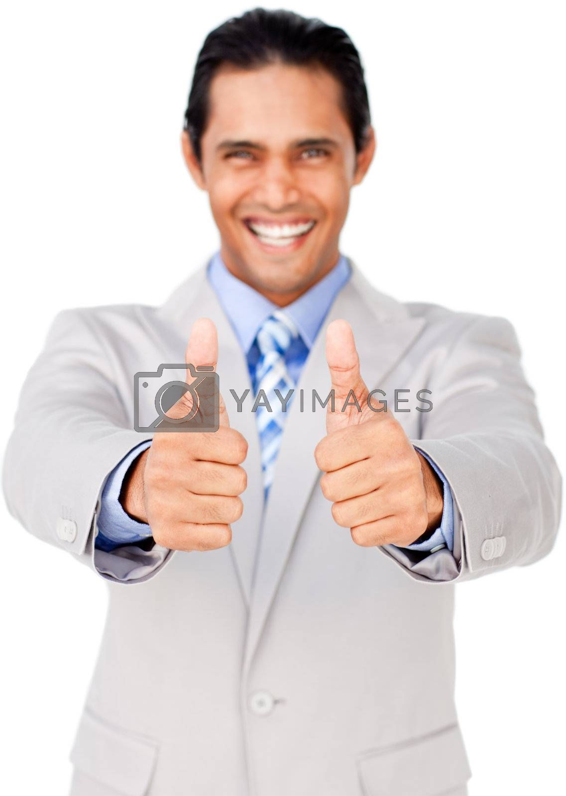 Ethnic businessman with thumbs up in celebration isolated on a white background