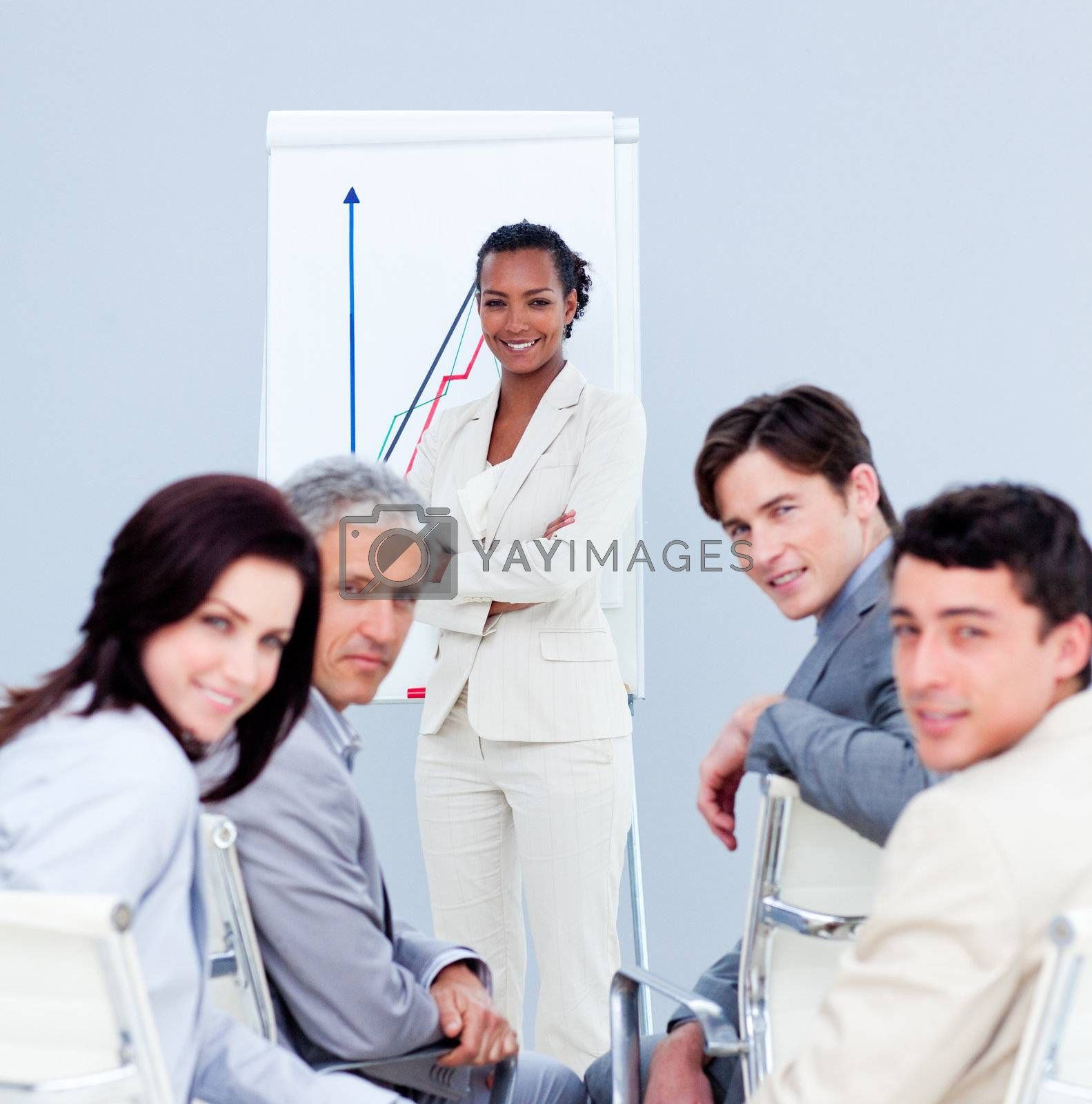Multi-ethnic business people at a presentation in the office