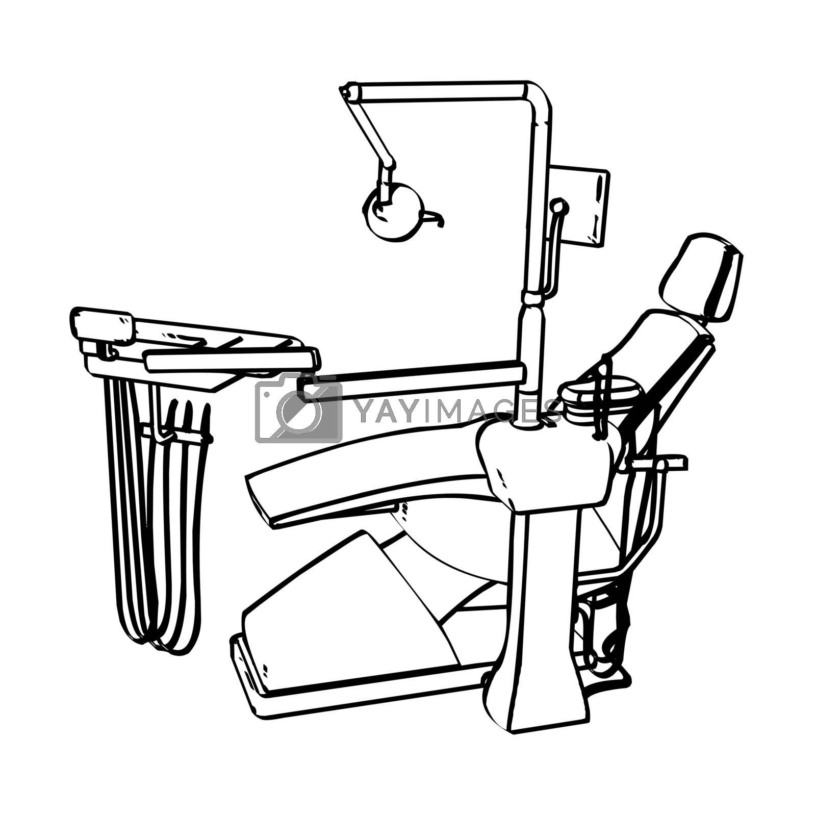 Dentist's drill chair engraving sketch. Vector illustration.