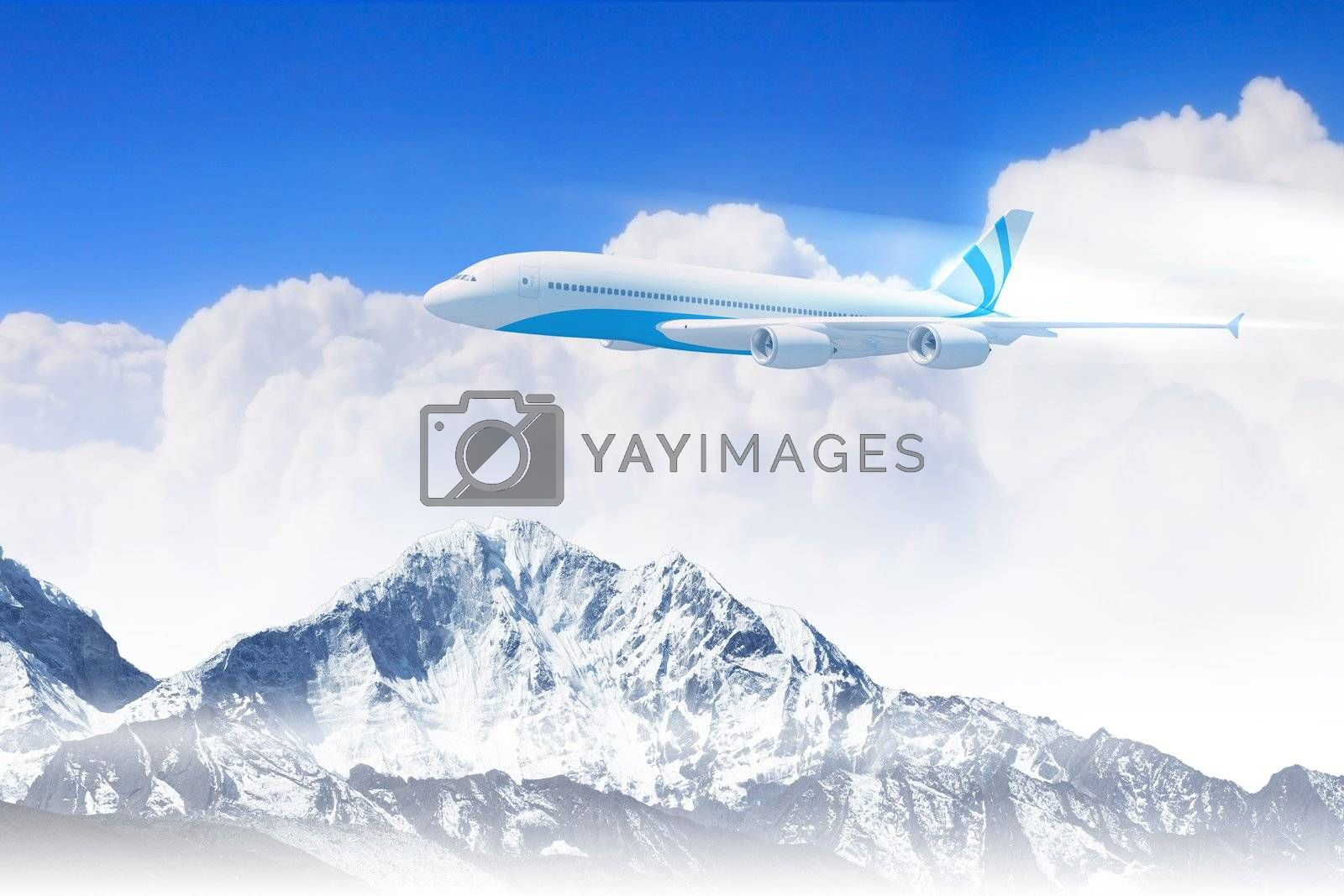 Royalty free image of White passenger plane above the mountains by sergey_nivens