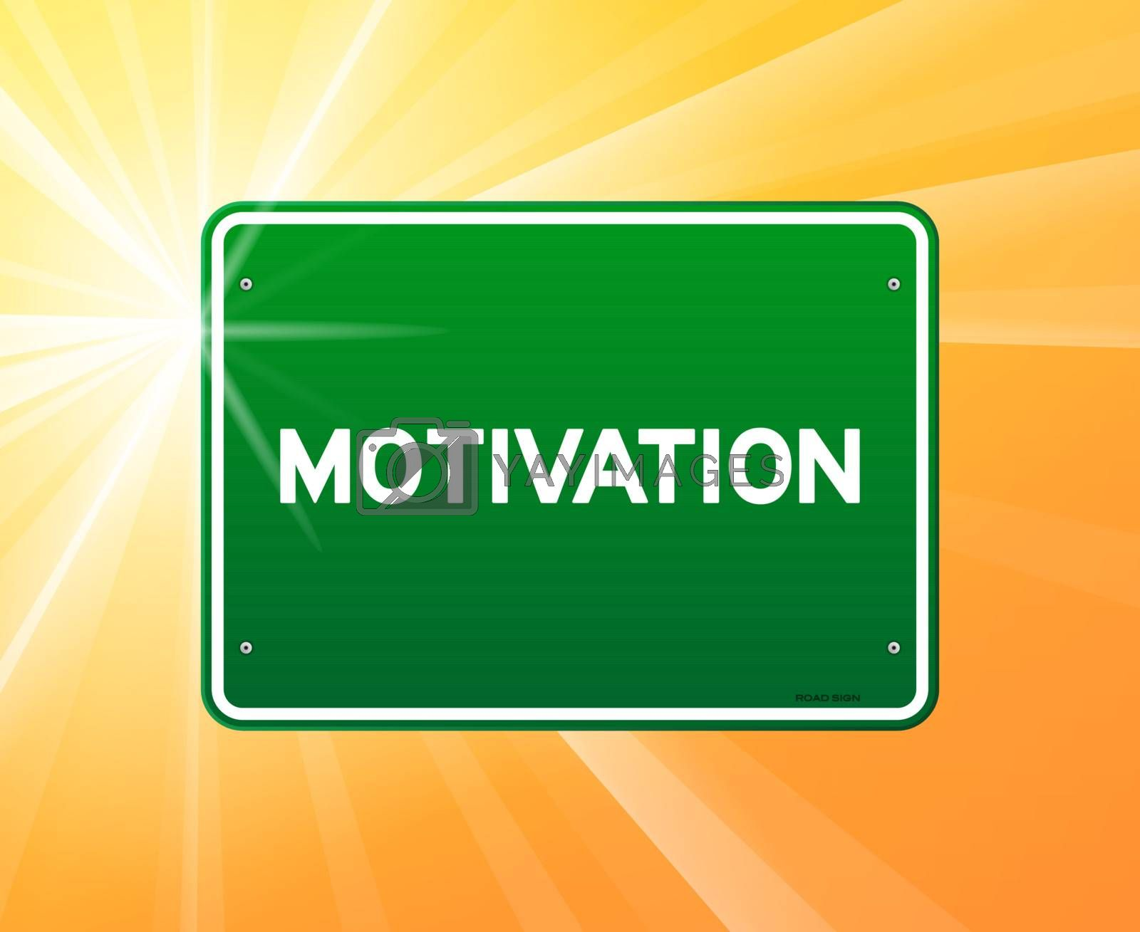 Motivation copy on green sign and sunny background
