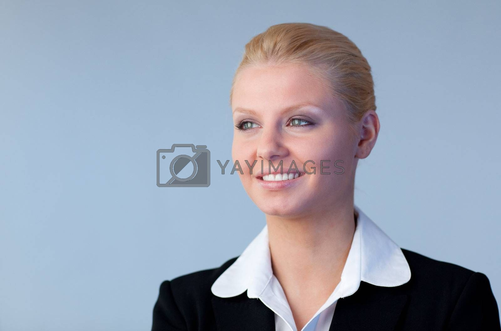 Confident businesswoman with copyspace included