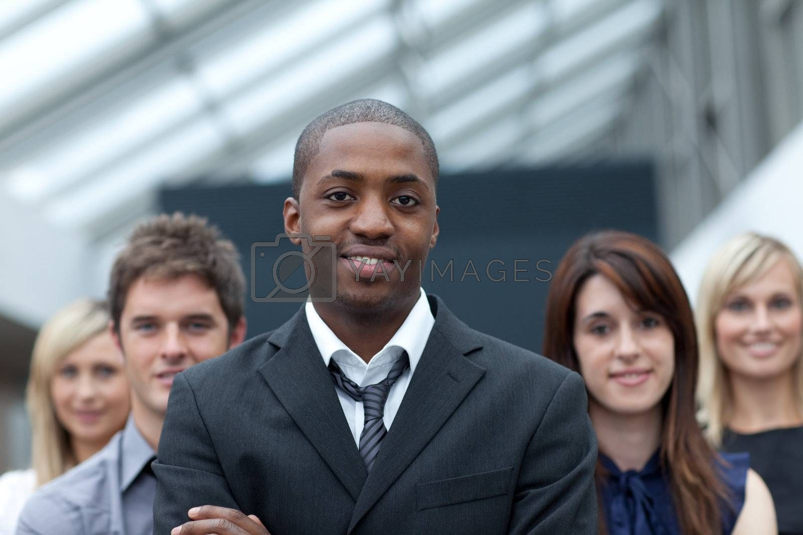 Afro-American young businessman leading his team