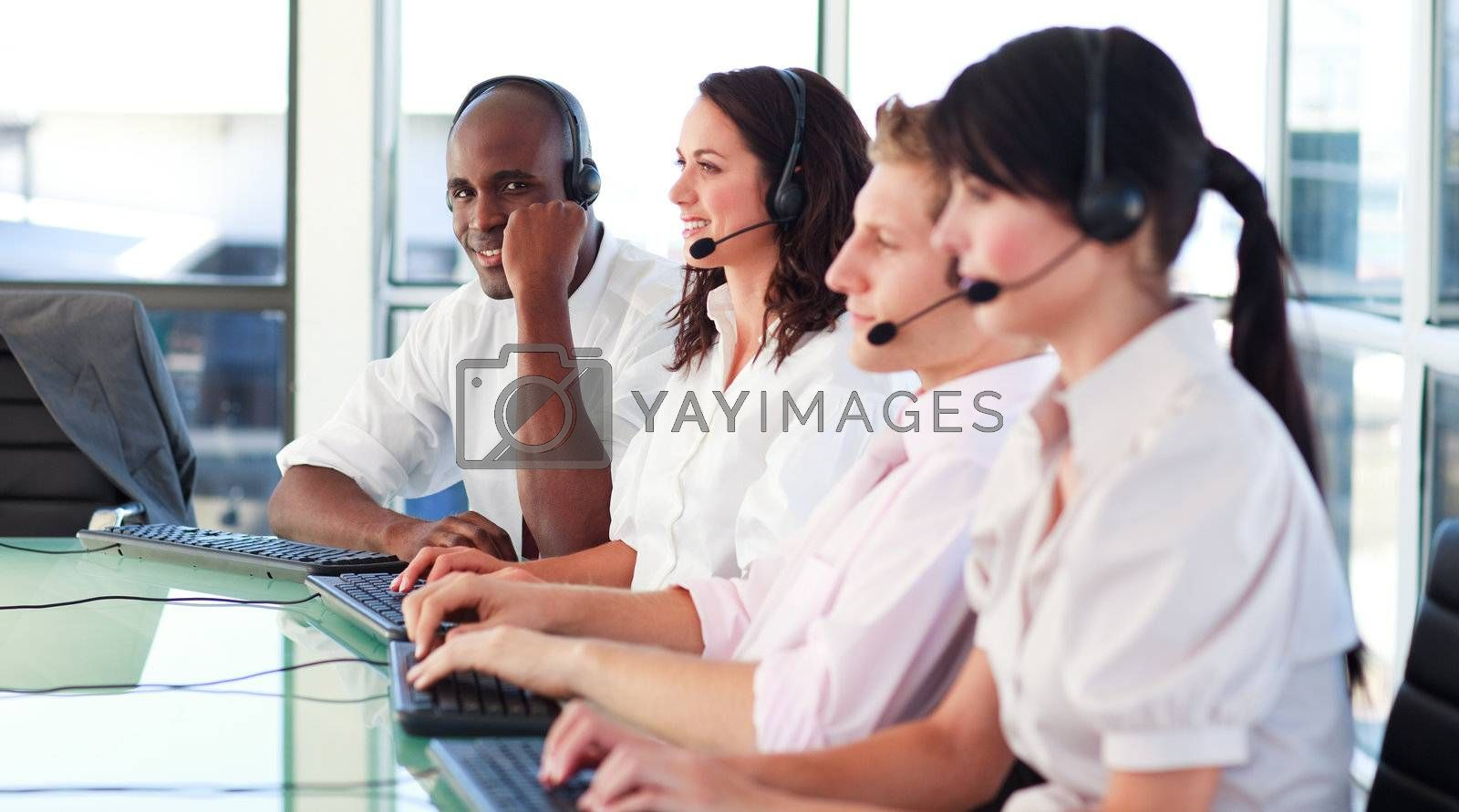 Business employees in a call center