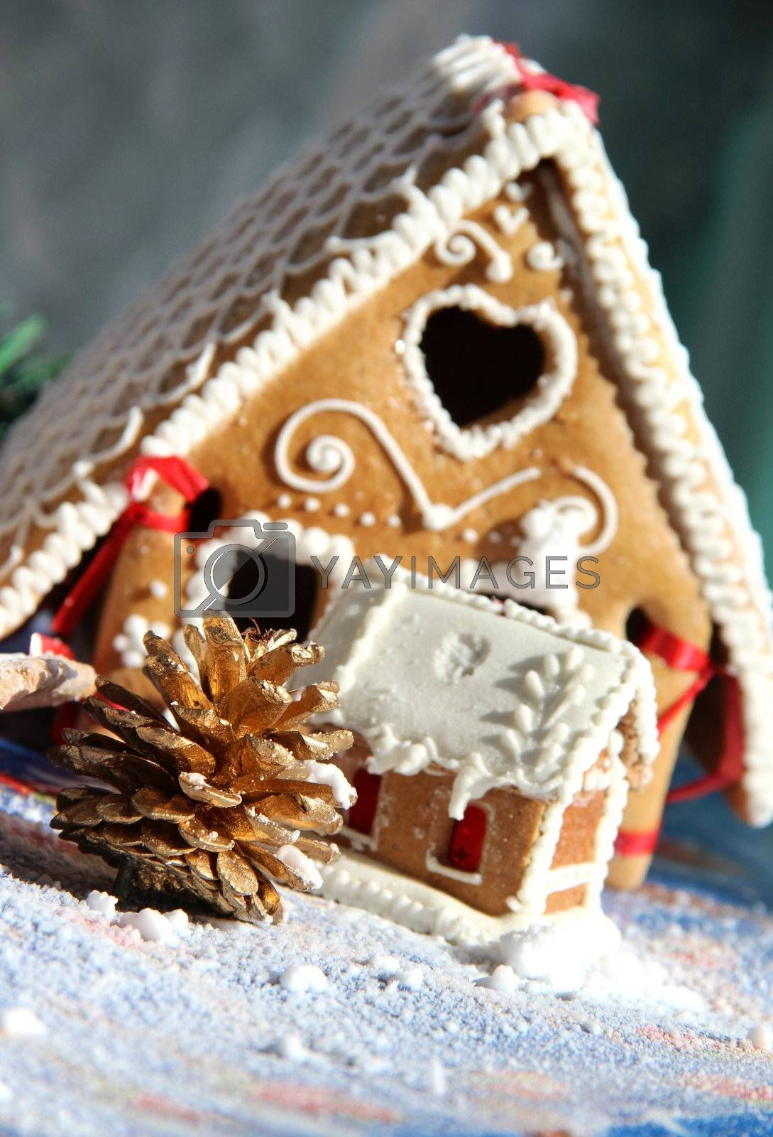 Christmas baked sweet houses and decorations