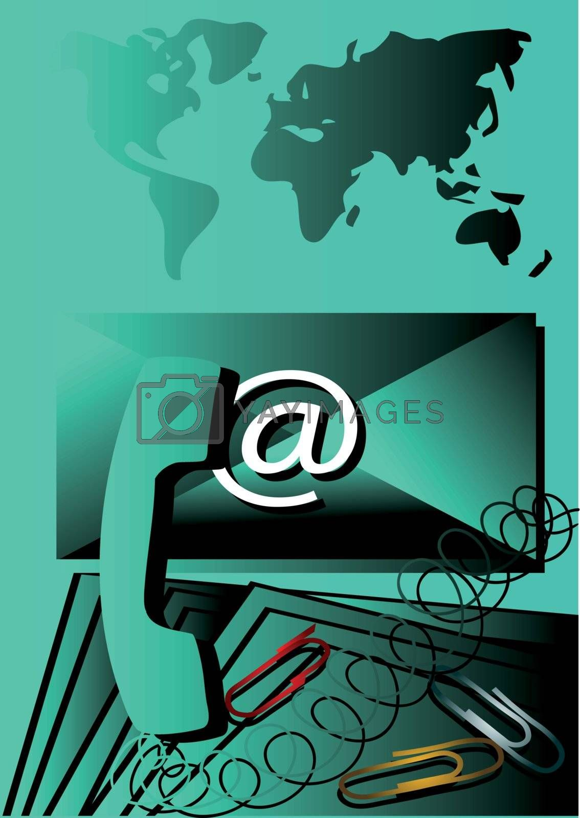 global communication. an e-mail letter that has a @ sign on it        global communication. an e-mail letter that has a @ sign on it