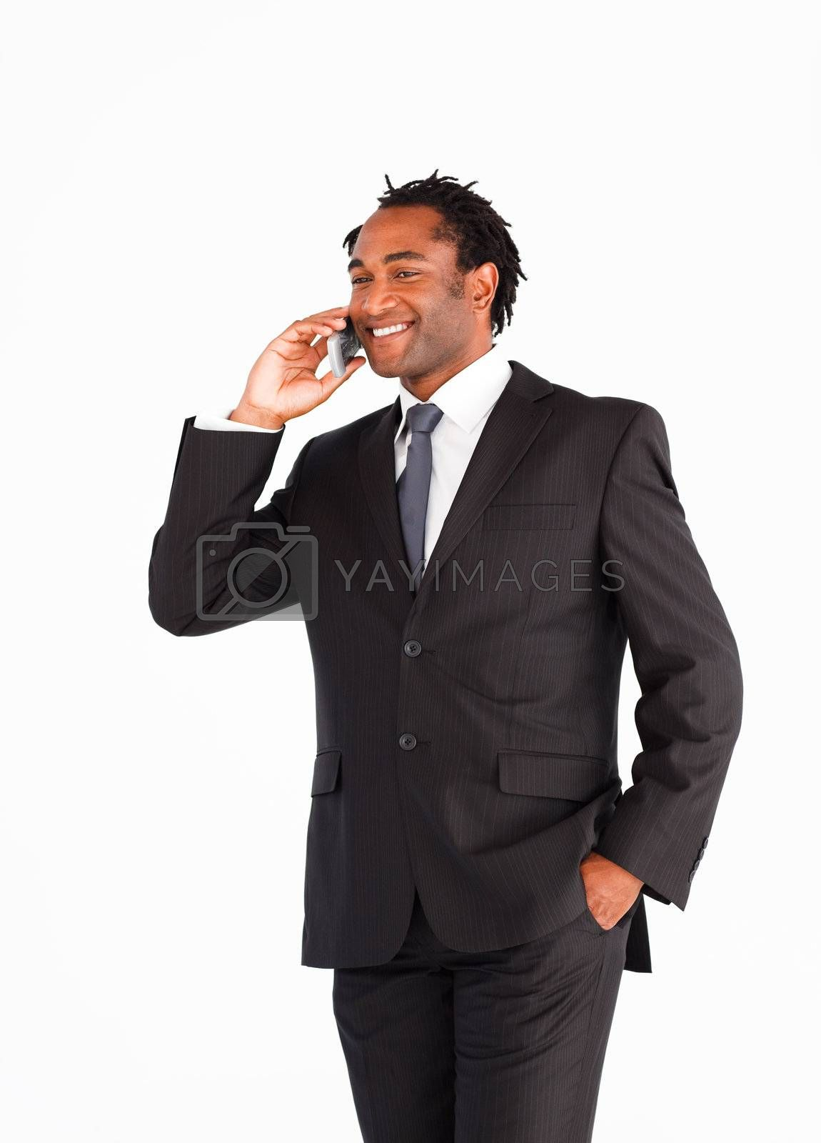 Afro-american businessman communicating on the phone