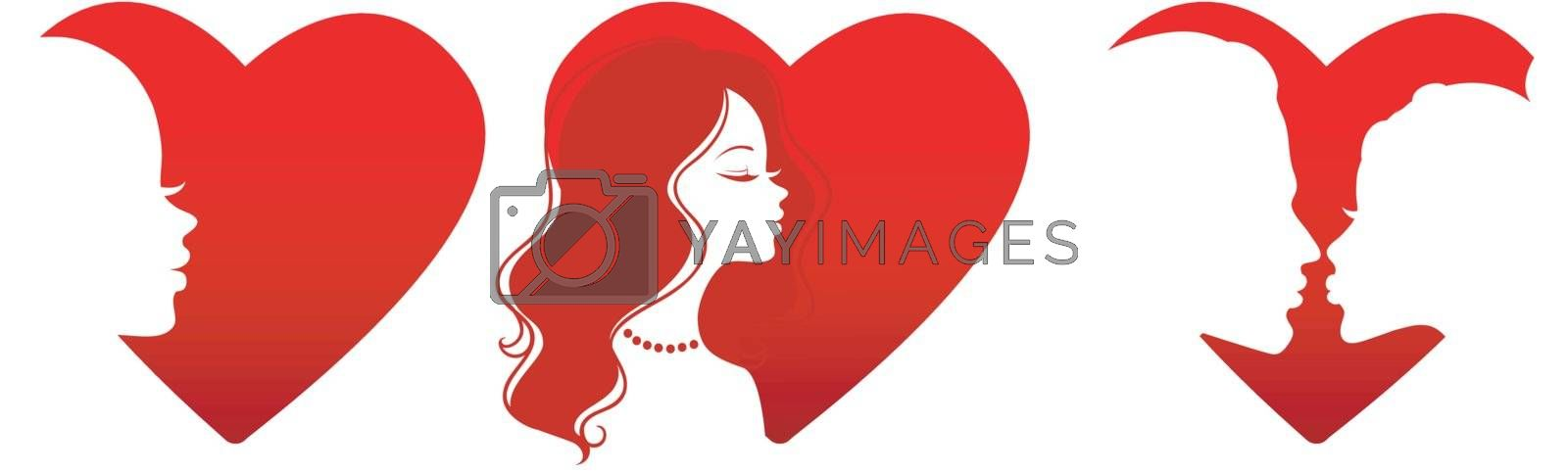 Vector illustration of Heart set with people solhouette