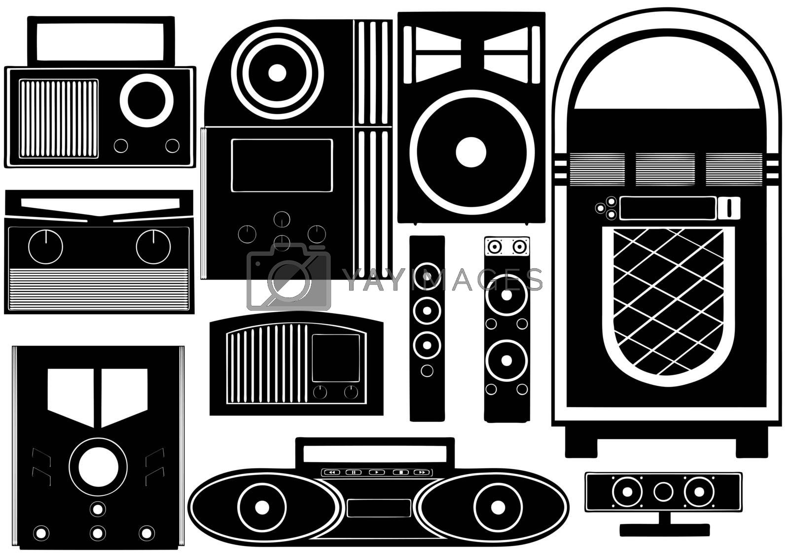 Set of illustration of Entertainment objects on white background        Entertainment objects