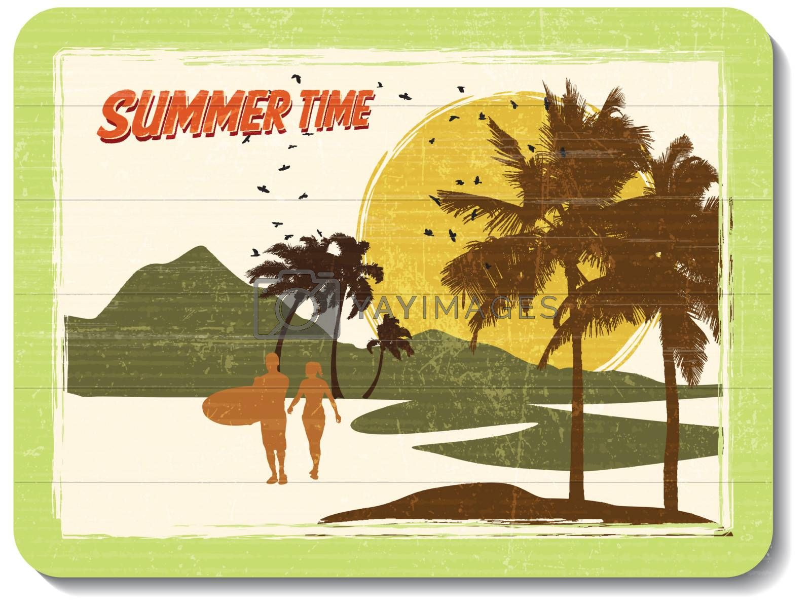 vintage wooden decoration wall with summer time