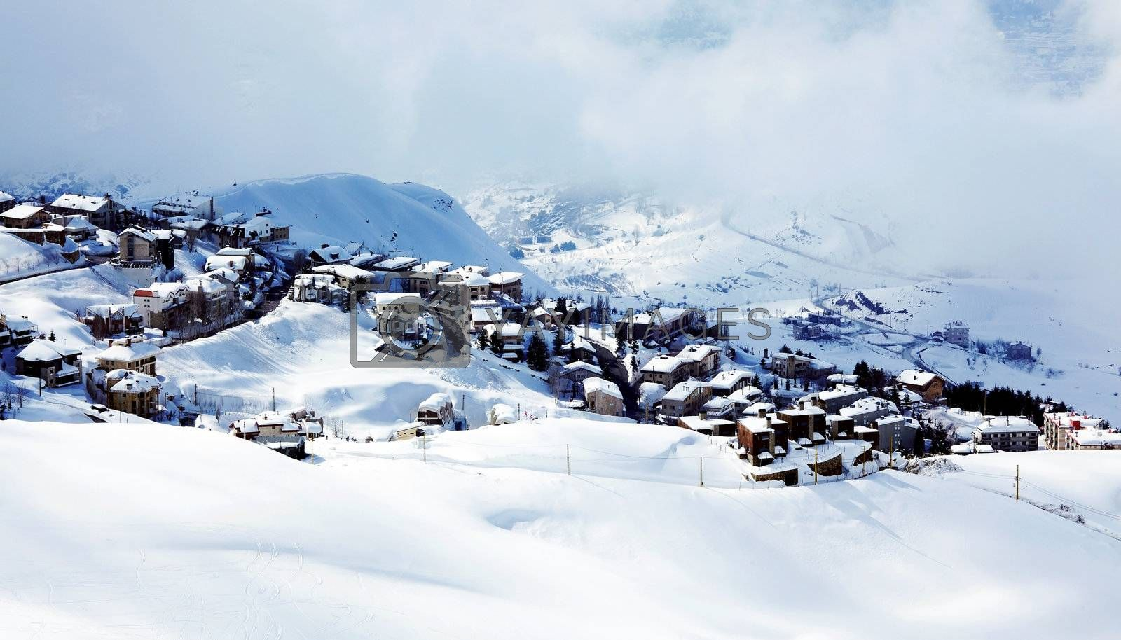 Winter mountain village landscape with snow and cute little houses, beautiful nature panoramic background