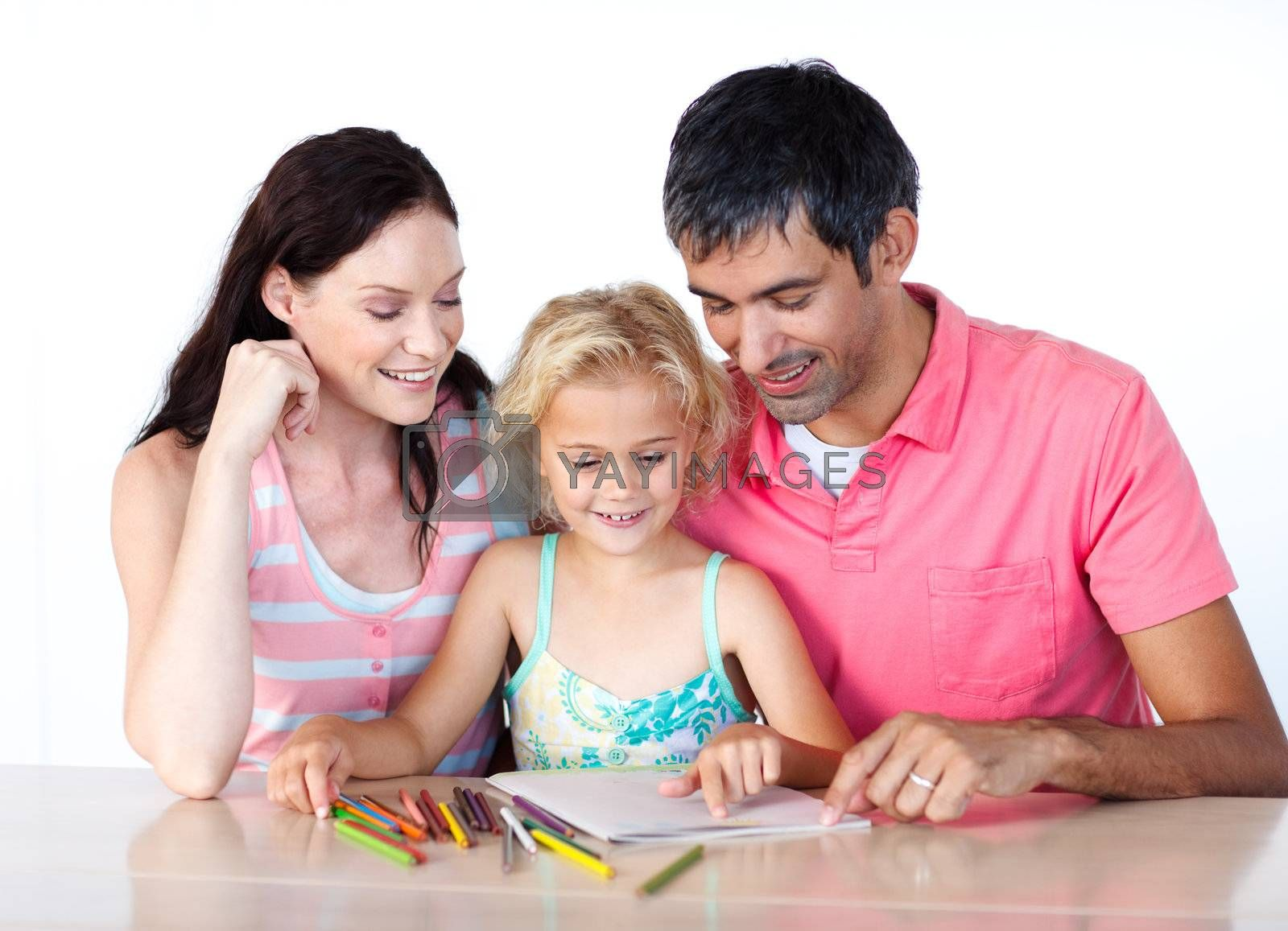 Father and mother drawing with her daughter by Wavebreakmedia