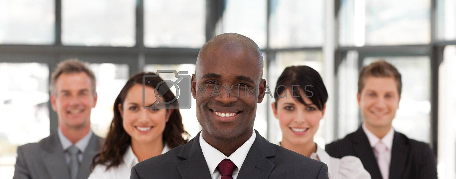 View of a confident business team looking at the camera in a office