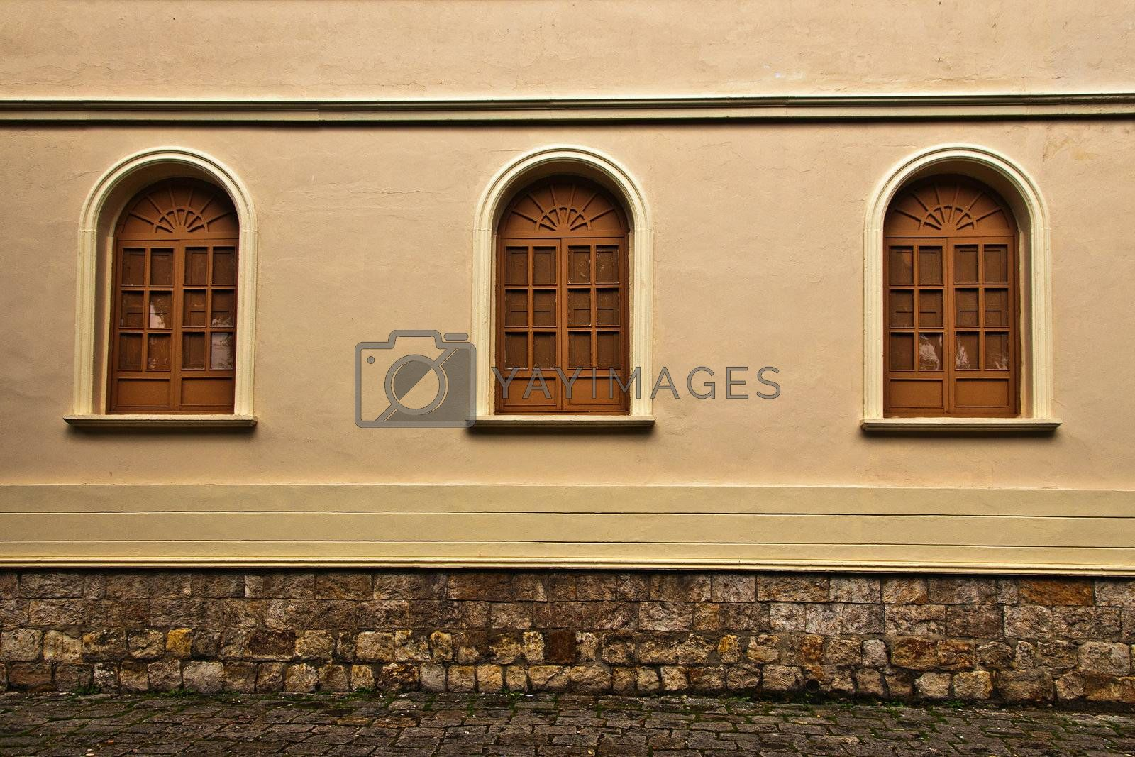 The windows and a colonial wall in Bogota, Colombia.