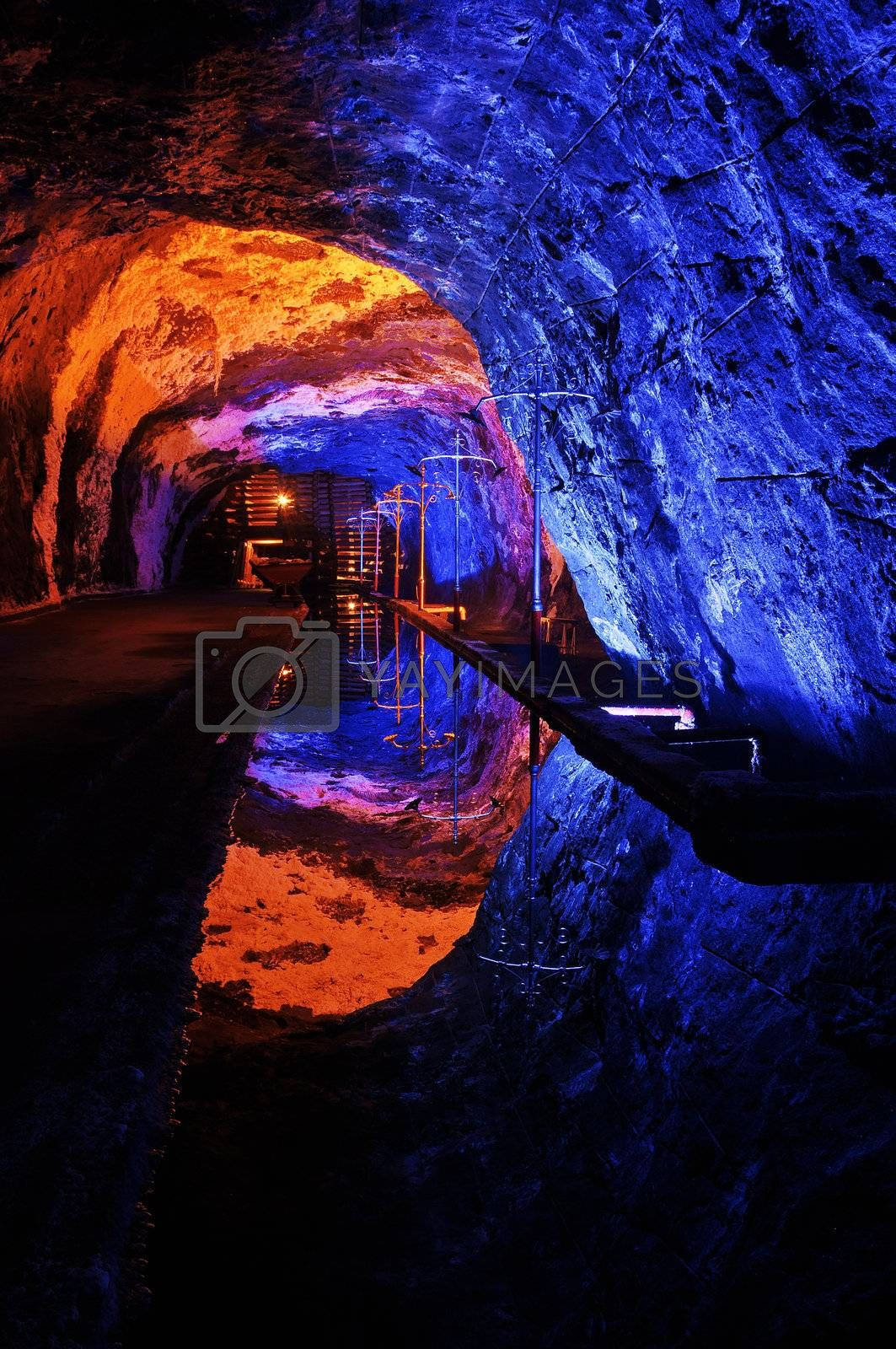 The colors of the underground salt church in Nemocon, Colombia.