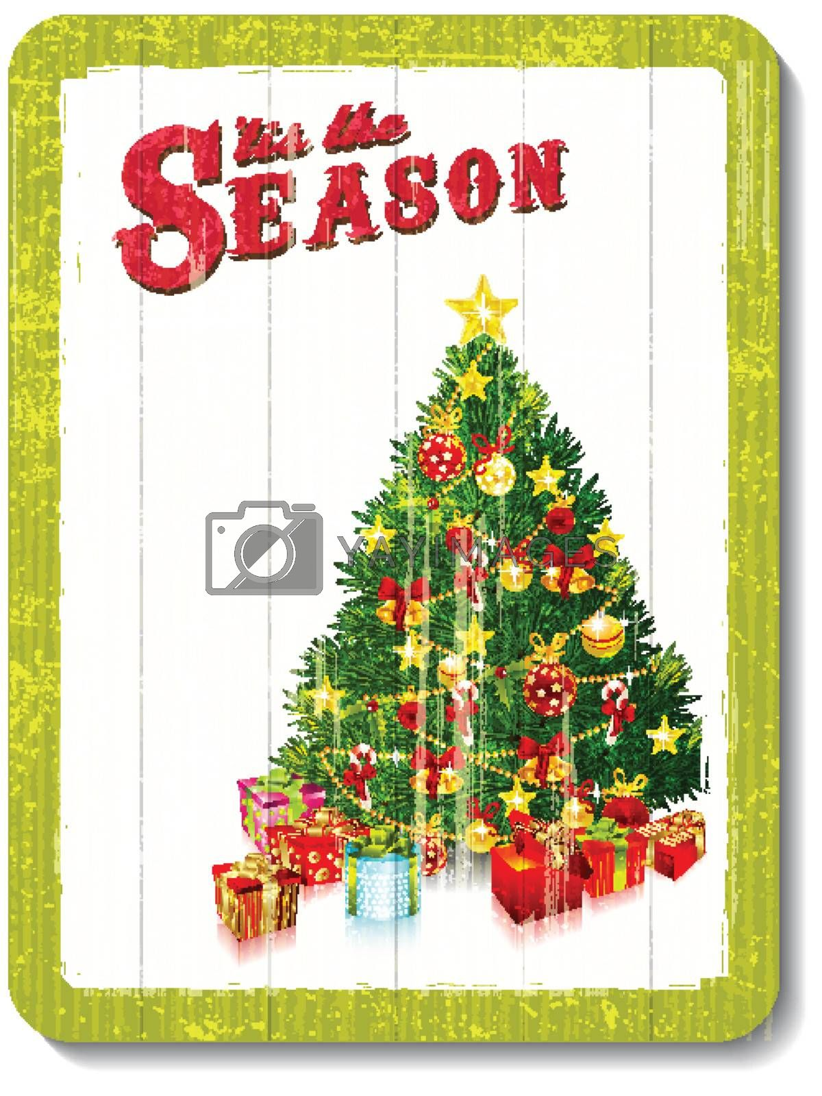 vintage wooden decoration wall with christmas tree