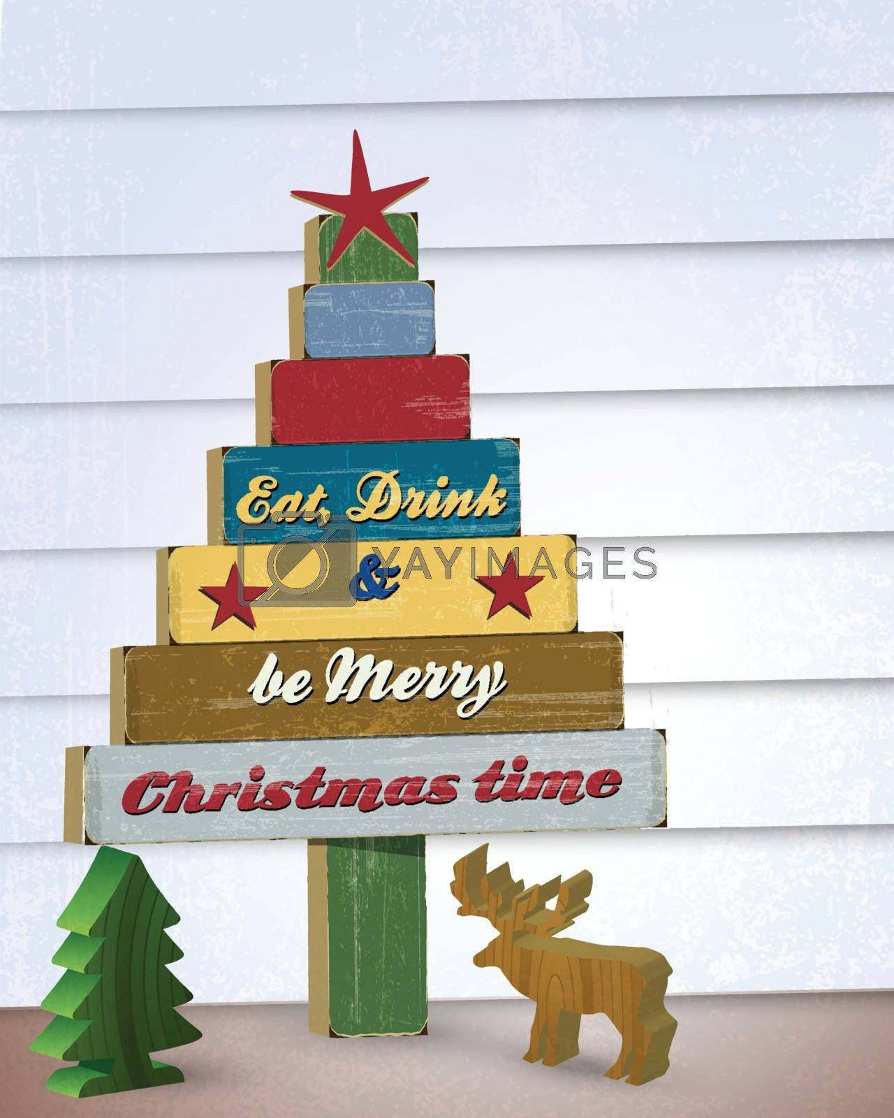 Christmas tree wooden decoration wall