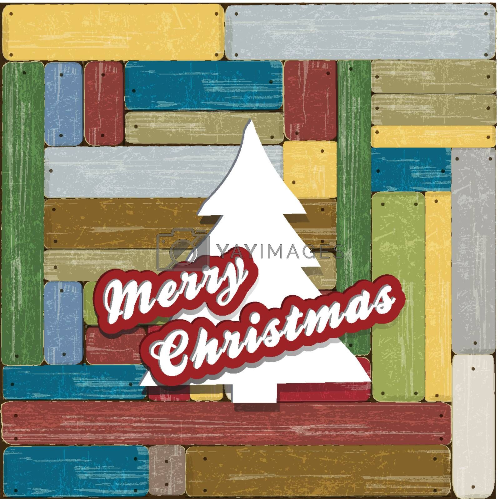 Merry Christmas on wooden decoration wall
