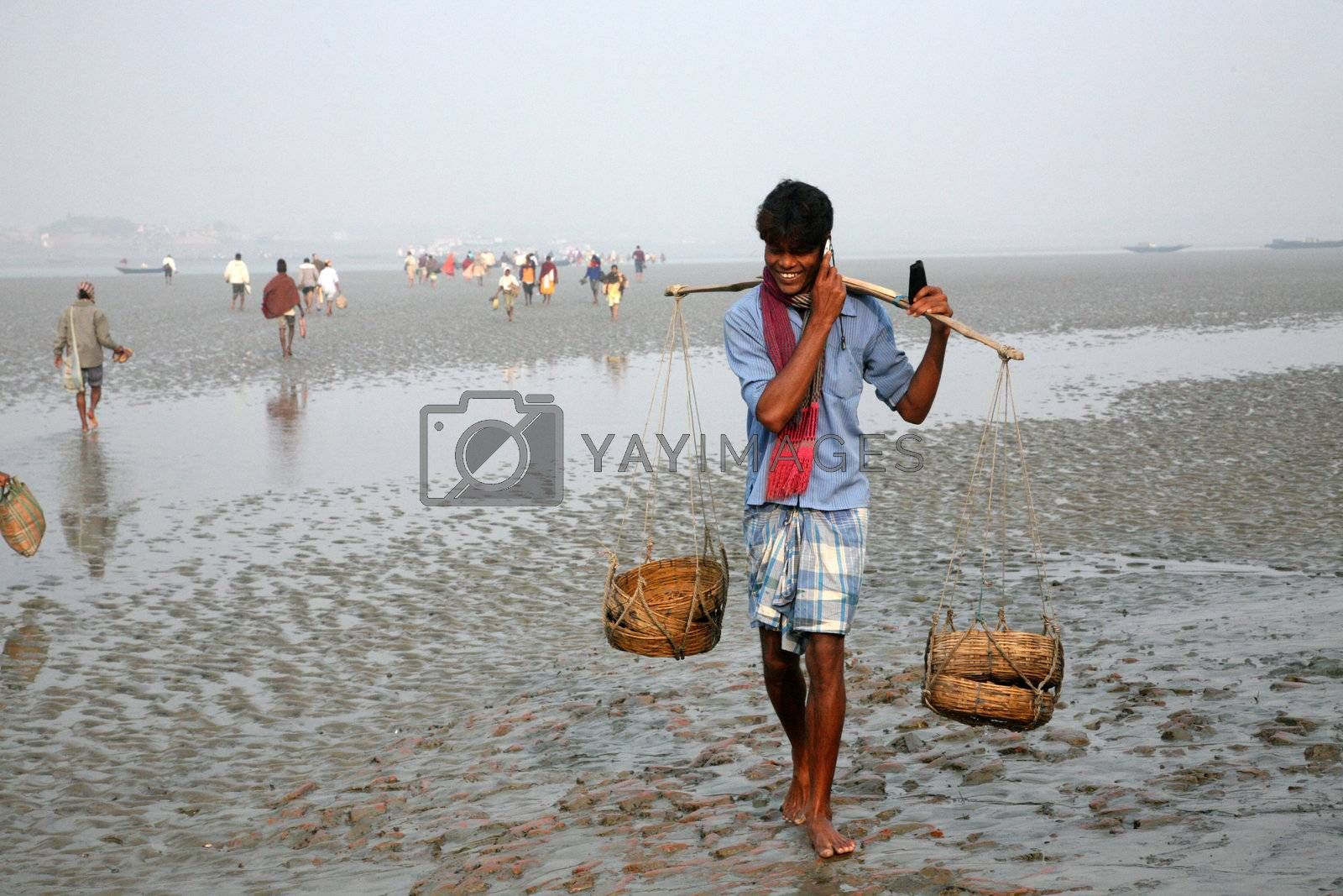SUNDARBANDS, WEST BENGAL, INDIA - JANUARY 17: The signal of mobile phone covers and most remote parts of the Sundarbans jungles, West Bengal, India on January 17, 2009.