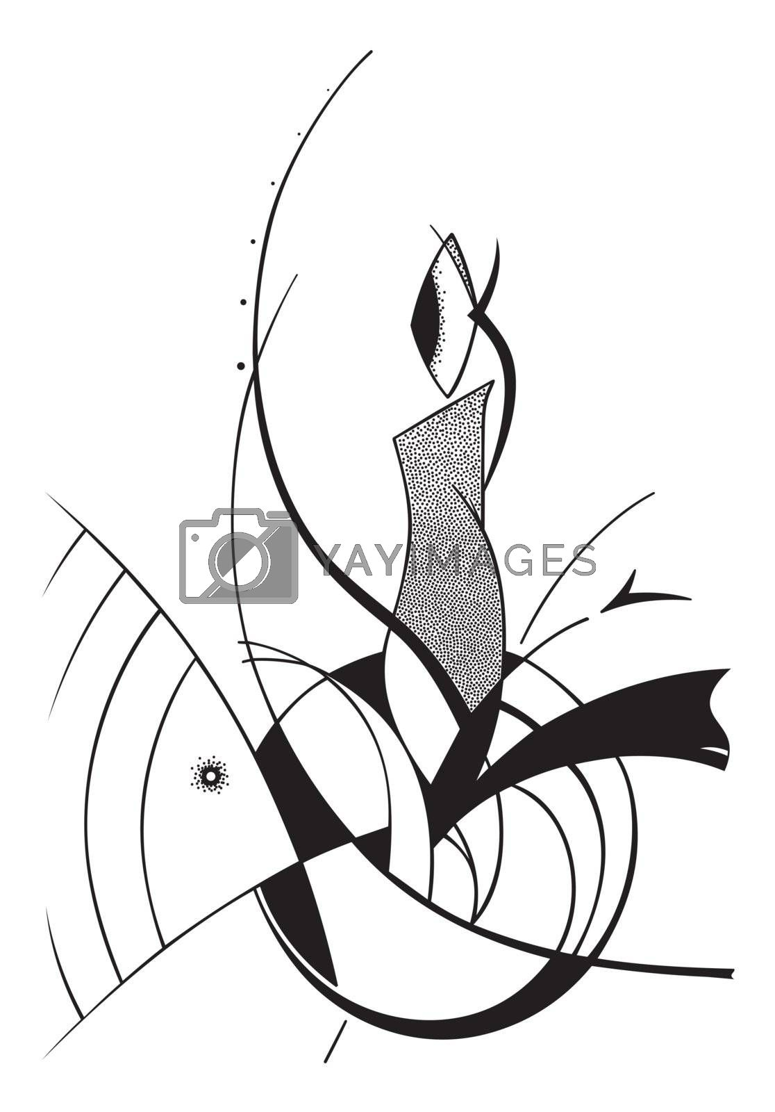 Fantastic abstract vector illustration in black on a white background