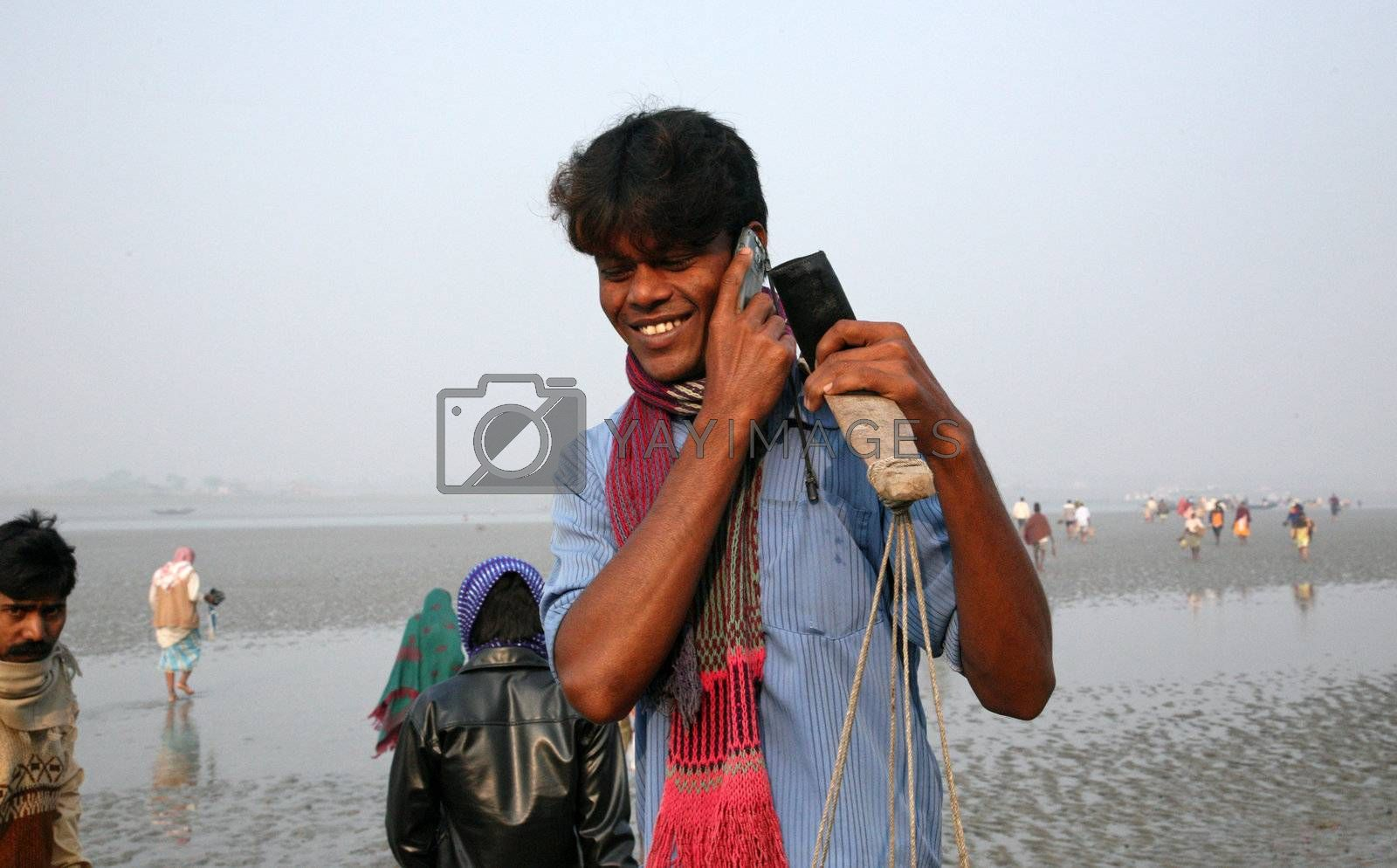 SUNDARBANS, WEST BENGAL, INDIA - JANUARY 17: The signal of mobile phone covers and most remote parts of the Sundarbans jungles, West Bengal, India on January 17, 2009.