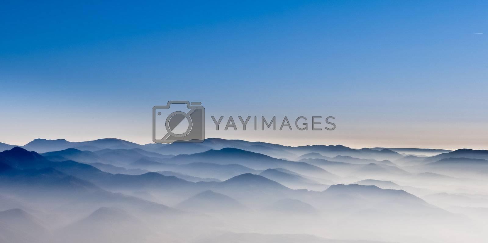 Misty mountain hills misty landscape with foggy hills