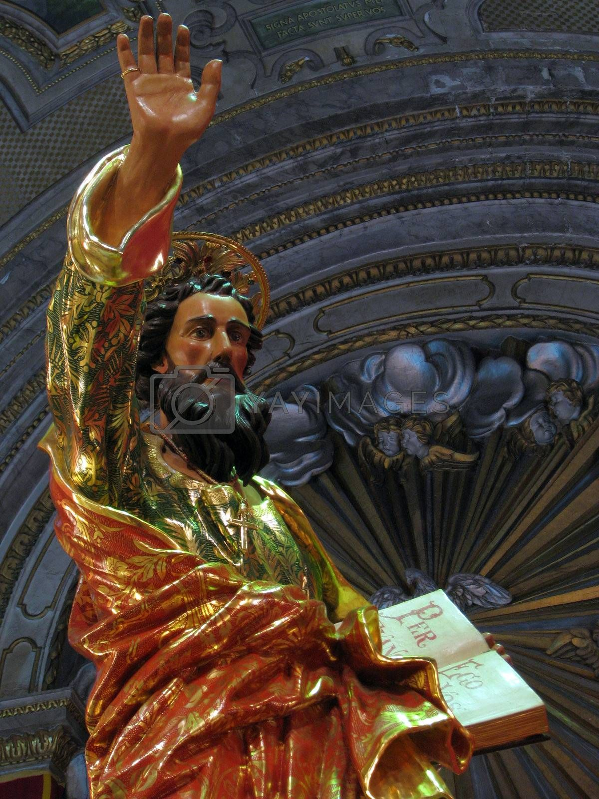 A detail of the statue of Saint Paul displayed in the parish church of Rabat, Malta.