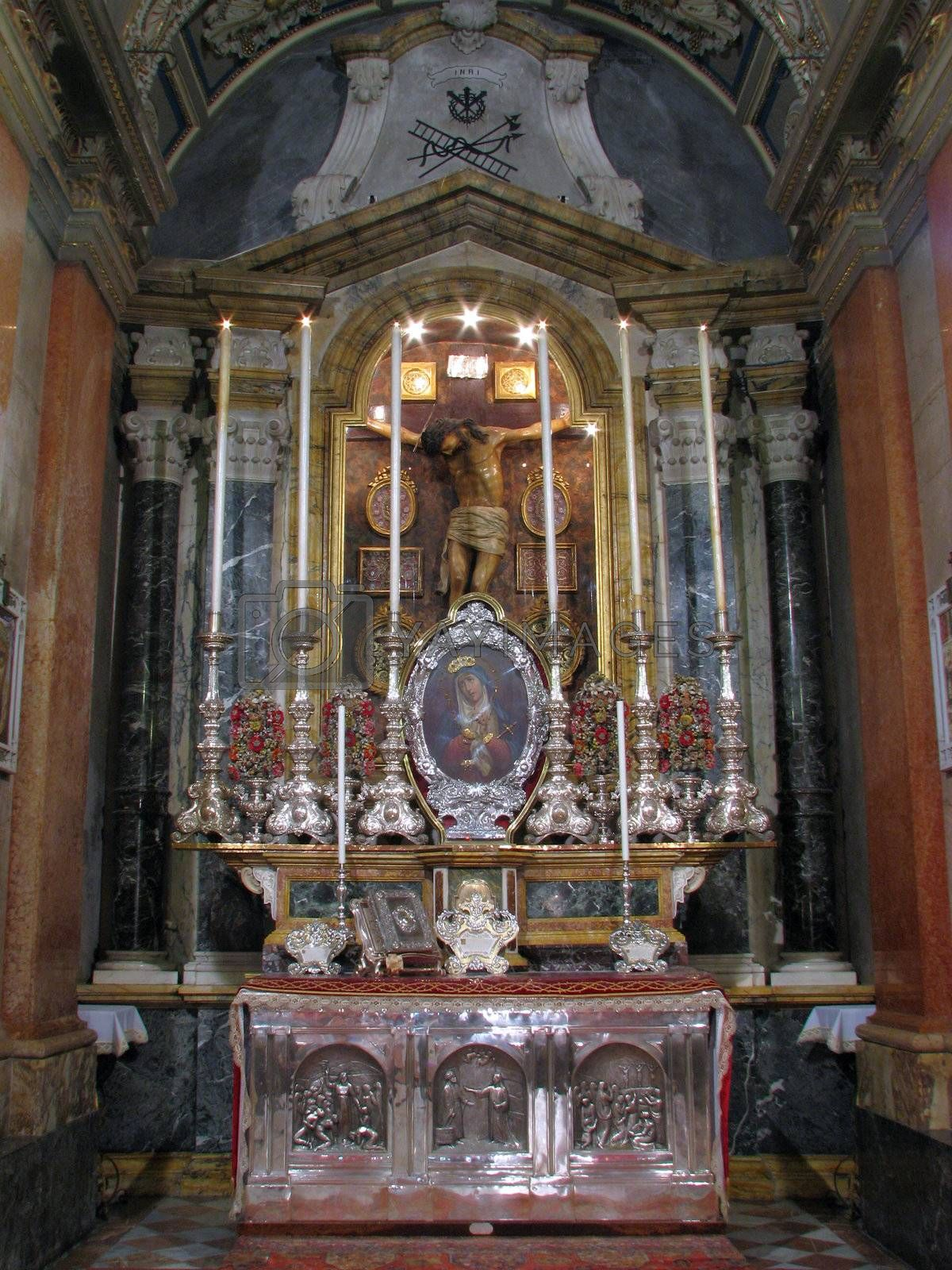An altar of the Holy Crucifix in Valletta, Malta.